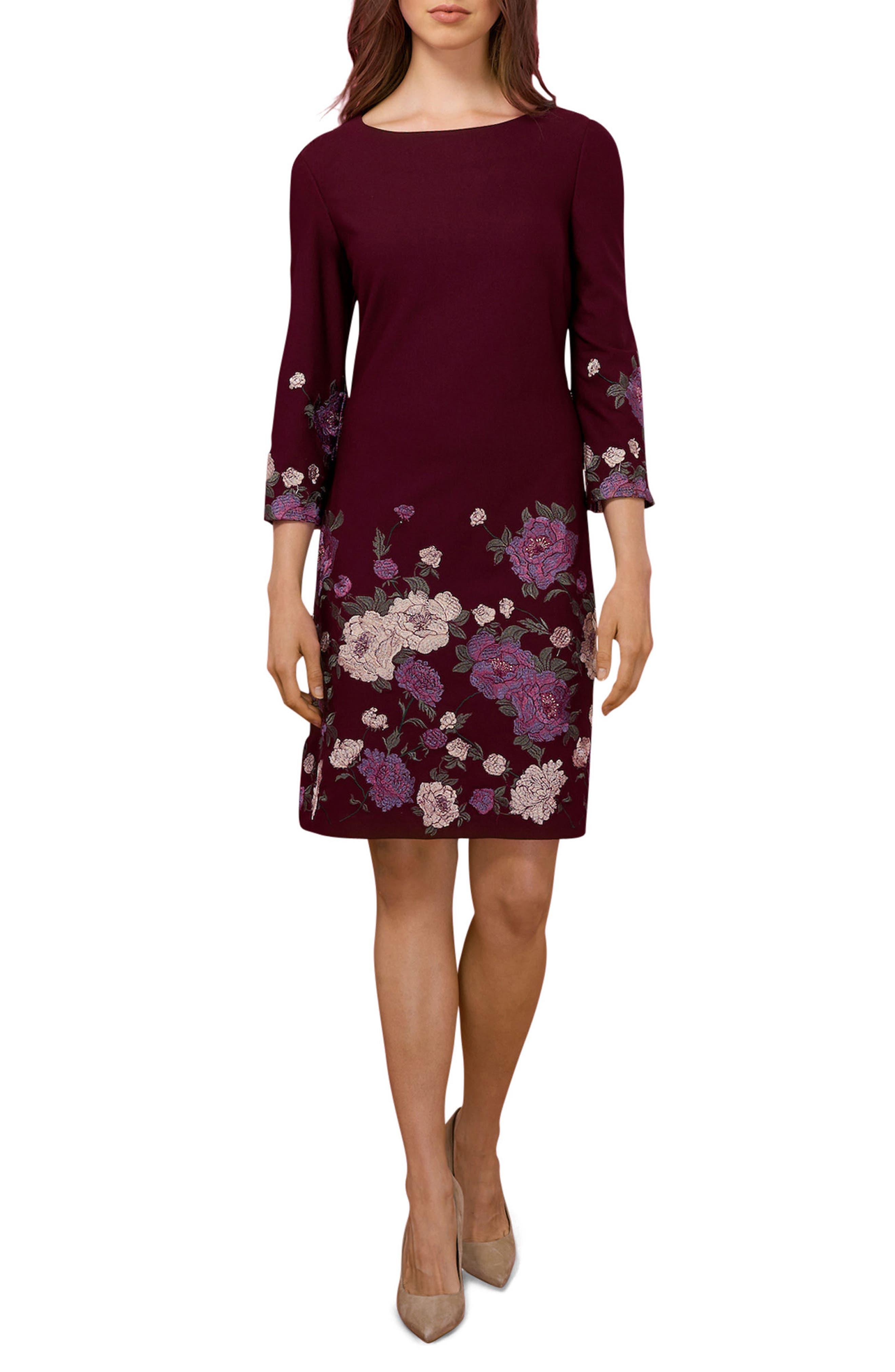 Floral Sheath Dress,                         Main,                         color, Wine