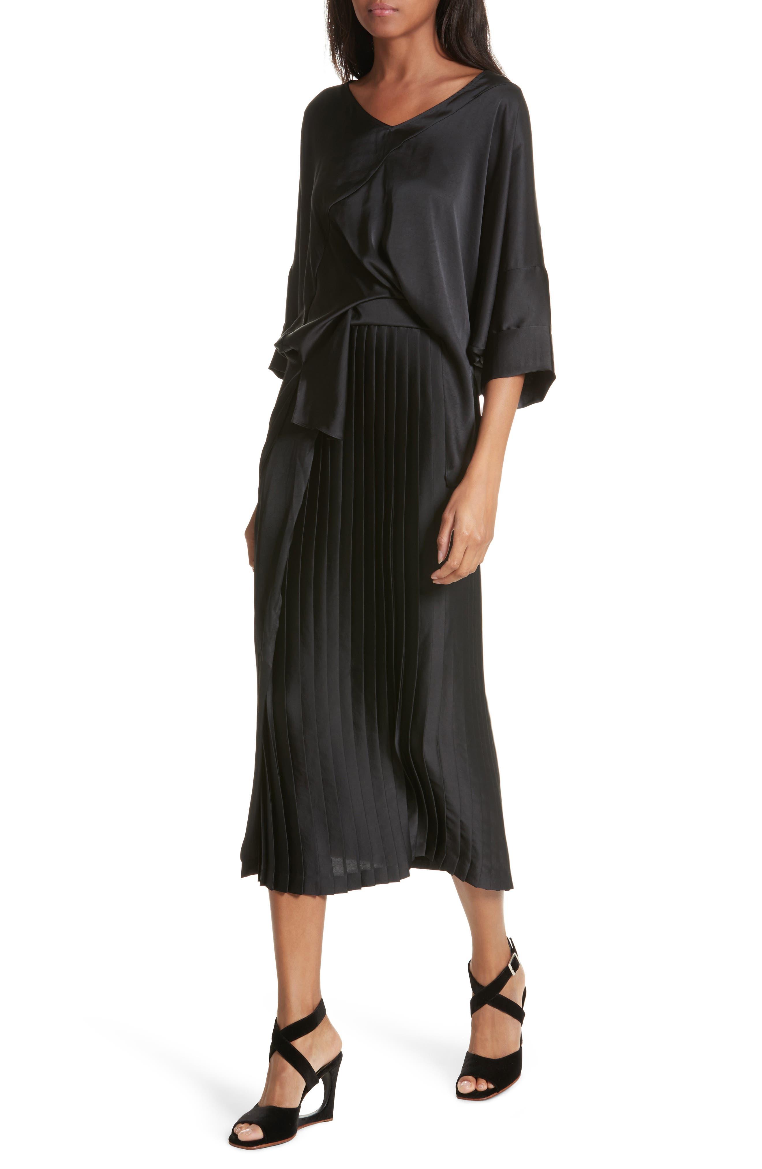 Mure Satin Midi Dress,                             Alternate thumbnail 4, color,                             Black