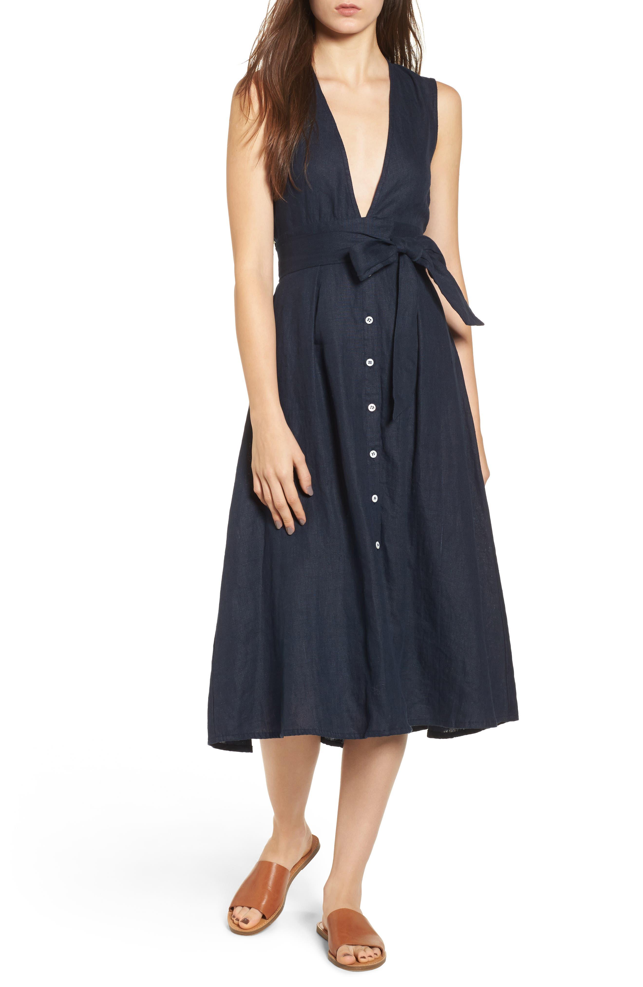 Le Roch Midi Dress,                             Main thumbnail 1, color,                             Plain Navy