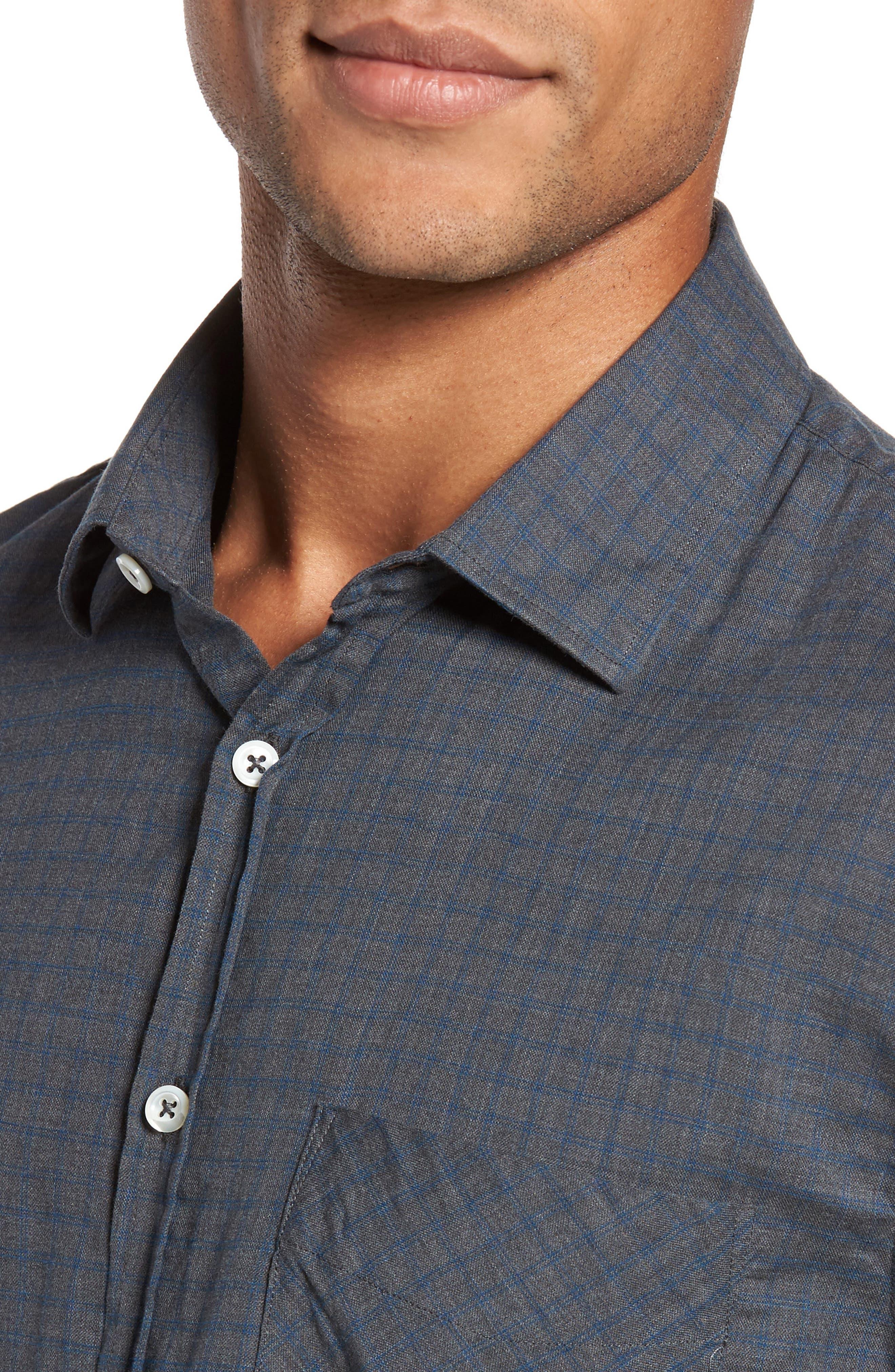 Kirby Slim Fit Check Sport Shirt,                             Alternate thumbnail 4, color,                             Grey/ Cobalt