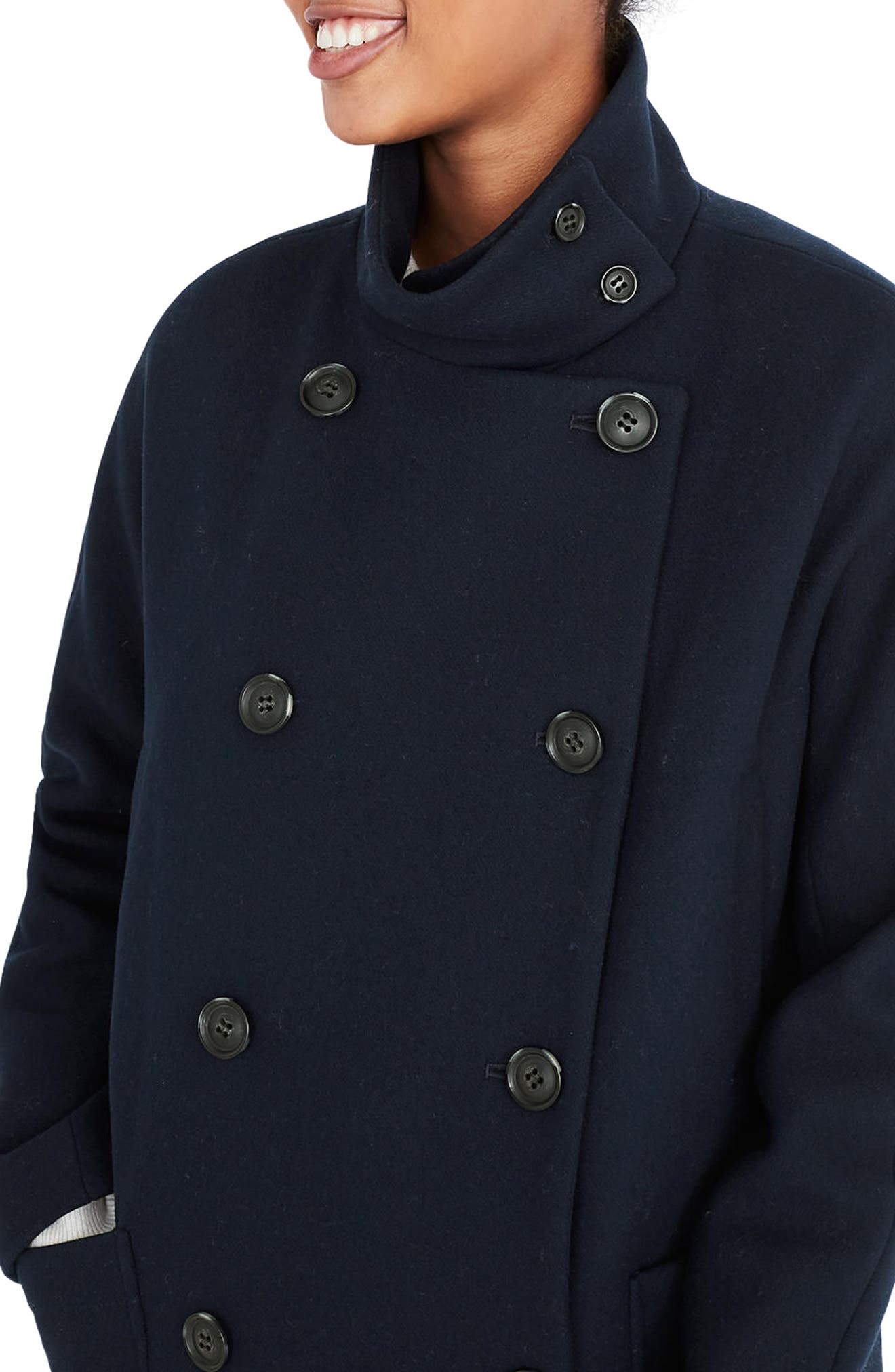 City Grid Double Breasted Coat,                             Alternate thumbnail 4, color,                             Iconic Indigo