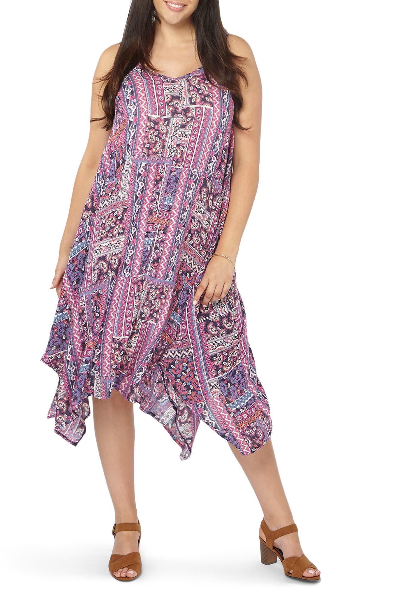 Handkerchief Hem Print A-Line Dress,                         Main,                         color, Multi Bright