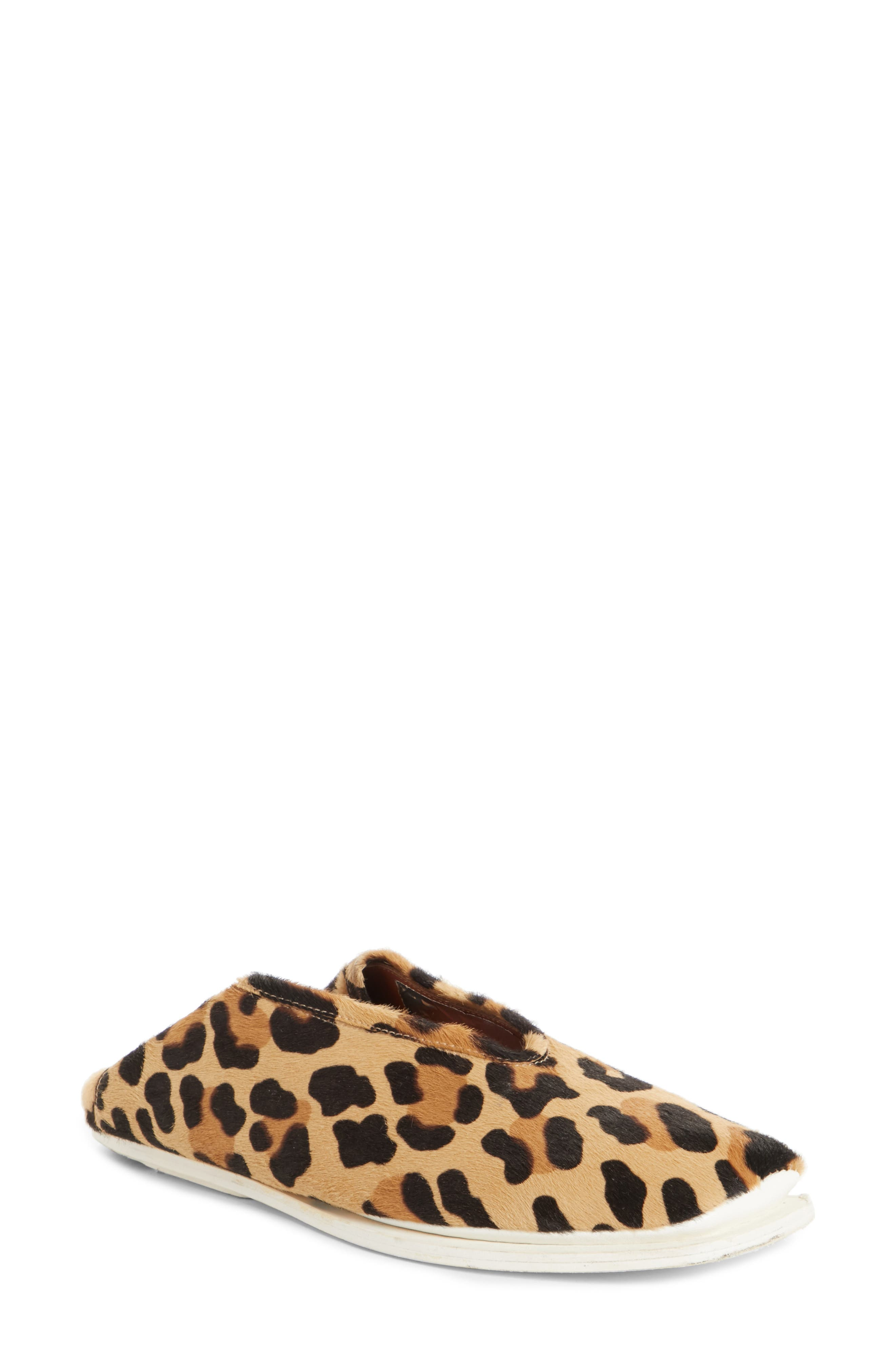 PSWL Genuine Calf Hair Convertible Loafer,                             Main thumbnail 1, color,                             Leopard Print