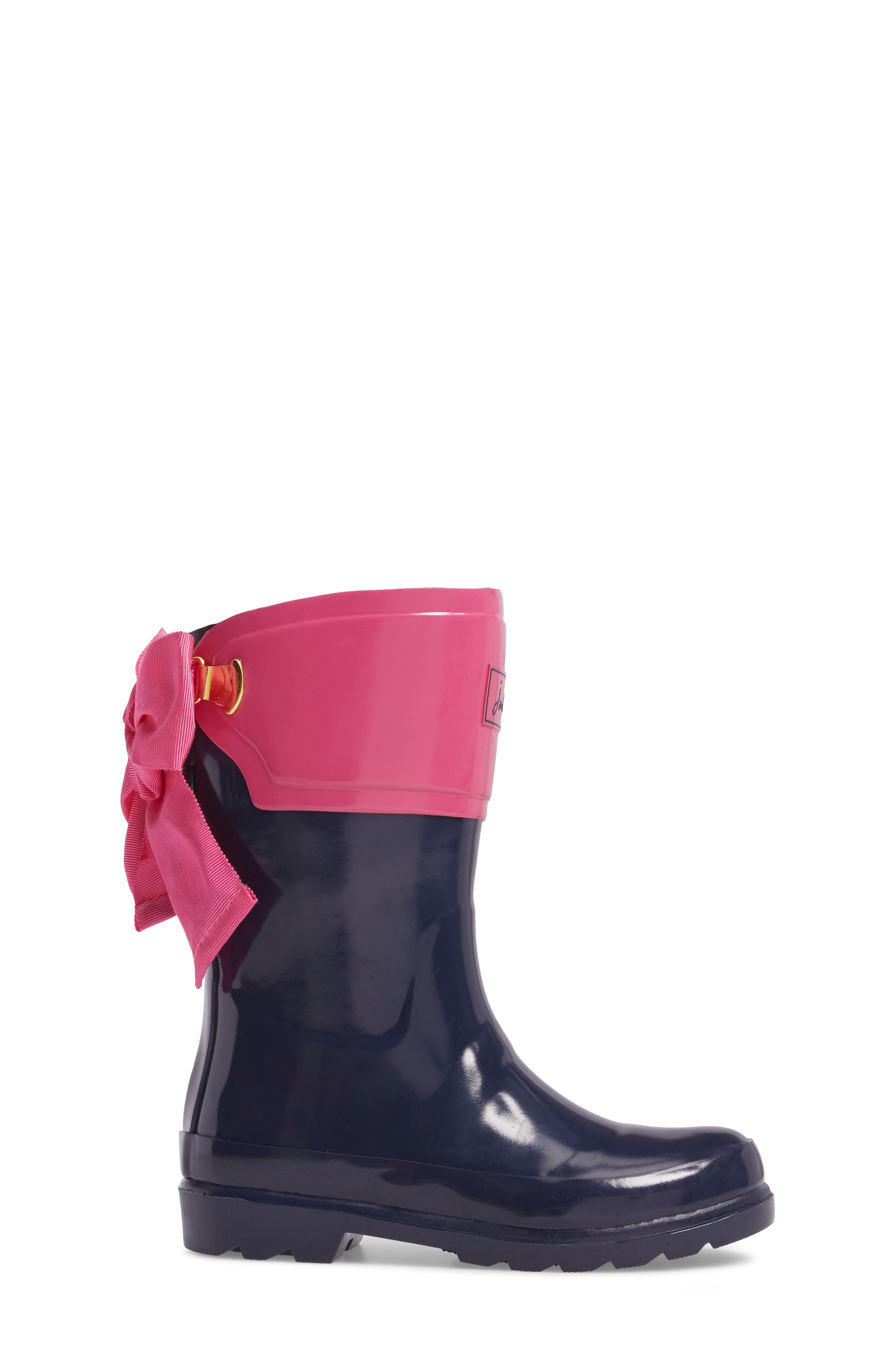 Evedon Bow Waterproof Rain Boot,                             Alternate thumbnail 3, color,                             French Navy