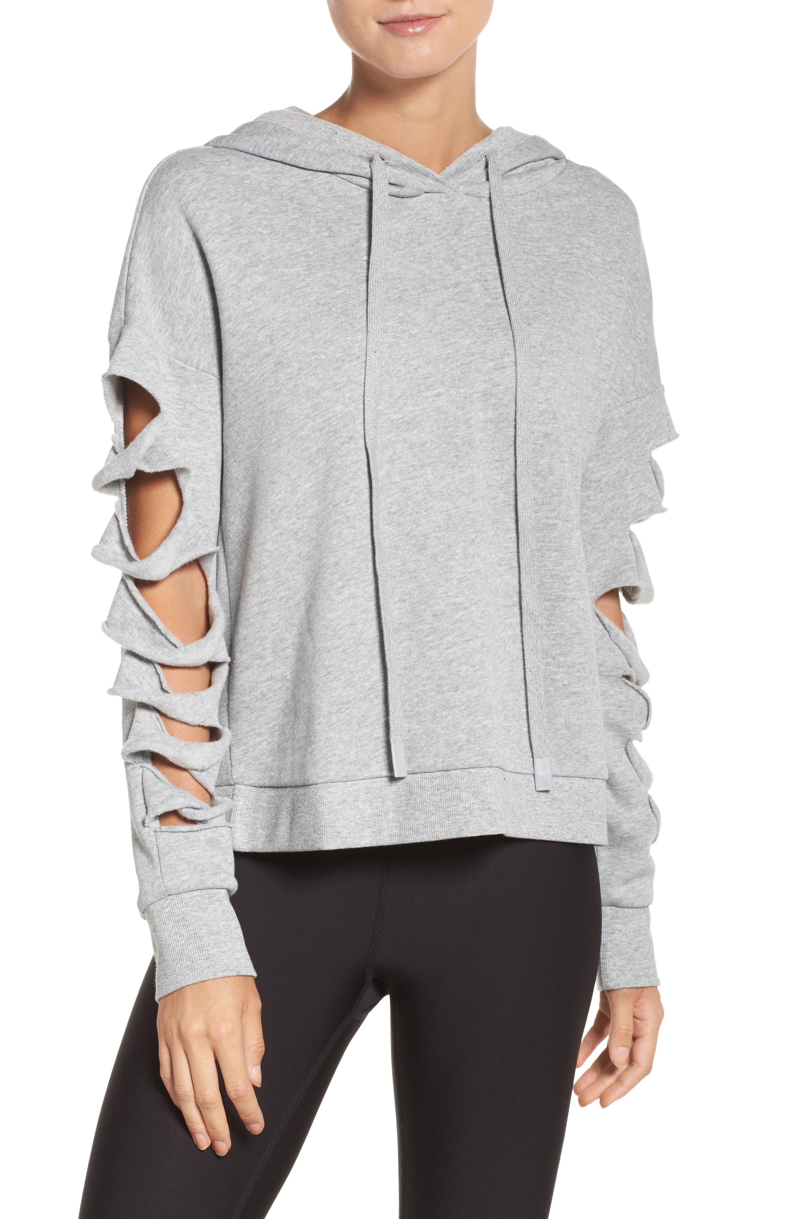 Slay Slashed Long Sleeve Hoodie,                             Main thumbnail 1, color,                             Dove Grey Heather