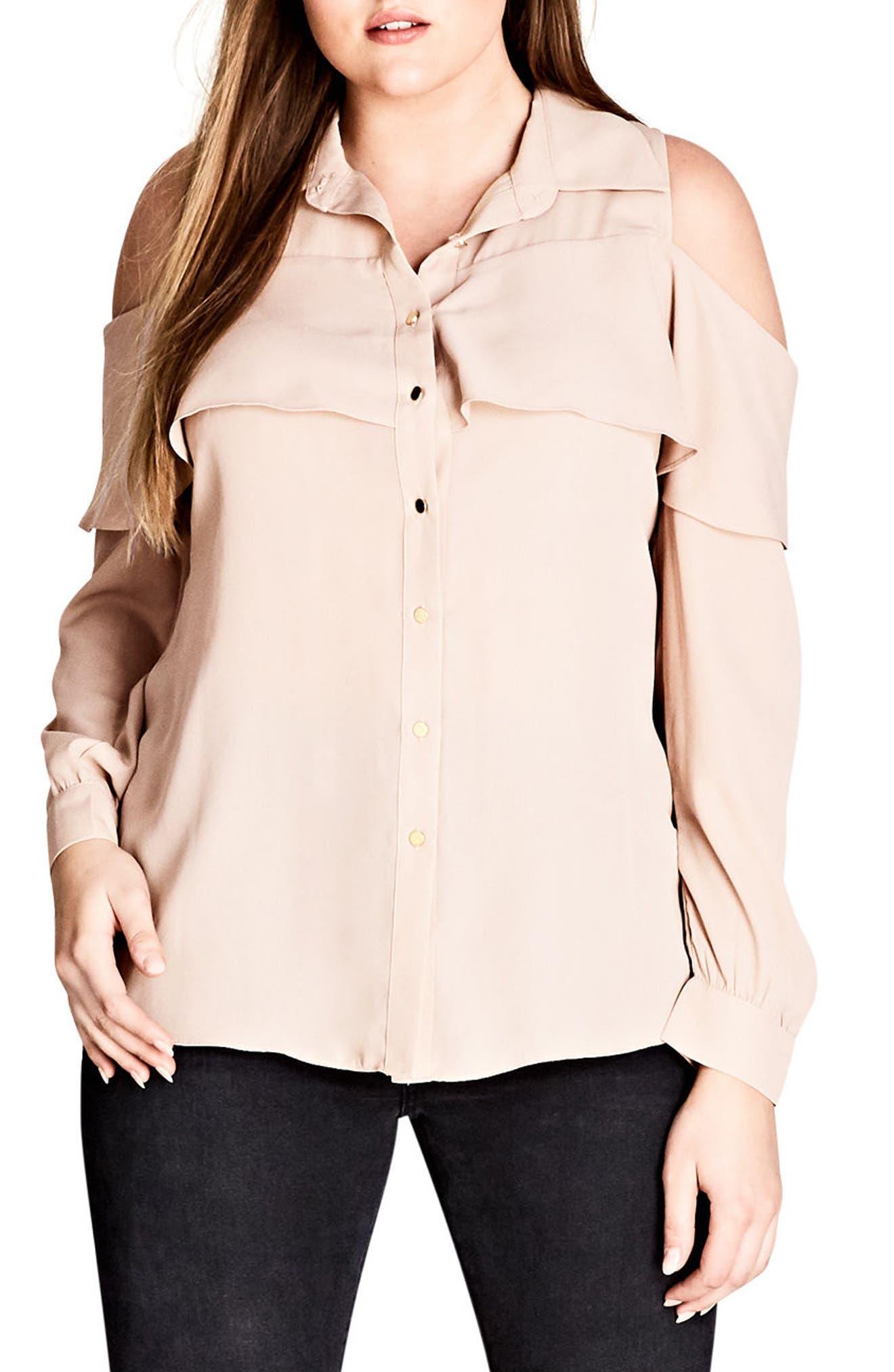 Frill Cold Shoulder Shirt,                         Main,                         color, Champagne