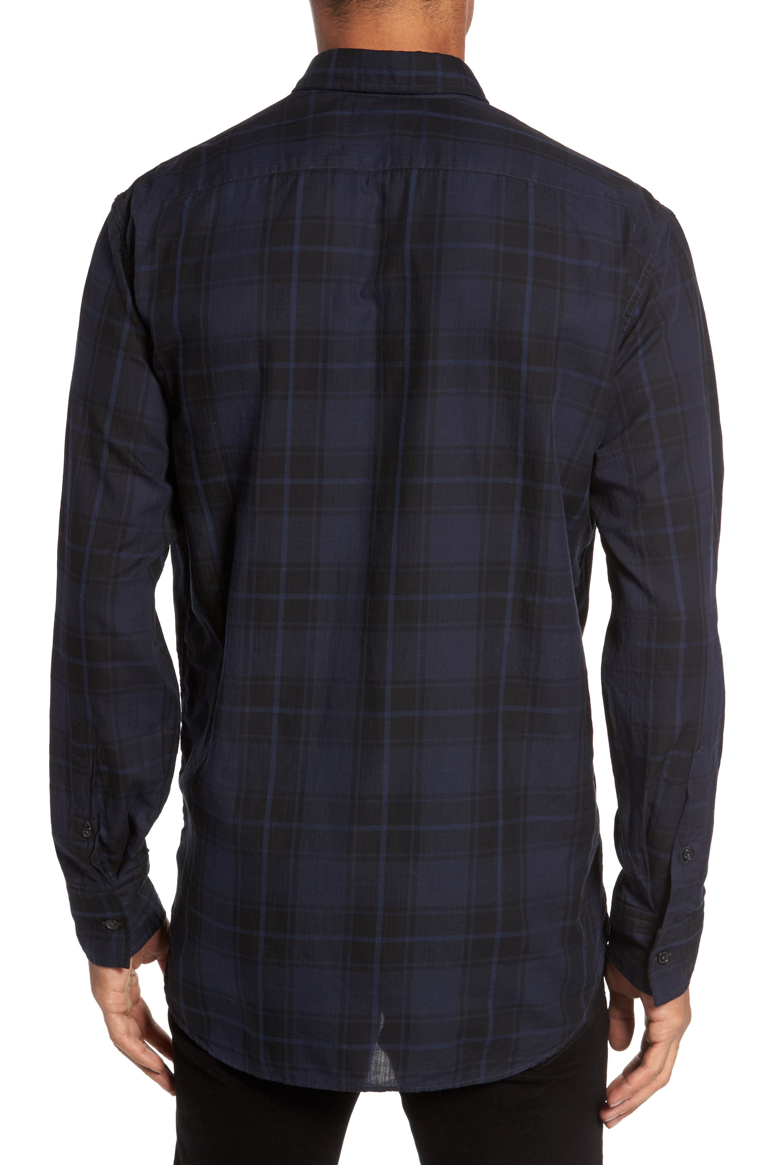 Wallace Slim Fit Sport Shirt,                             Alternate thumbnail 2, color,                             Navy/ Black