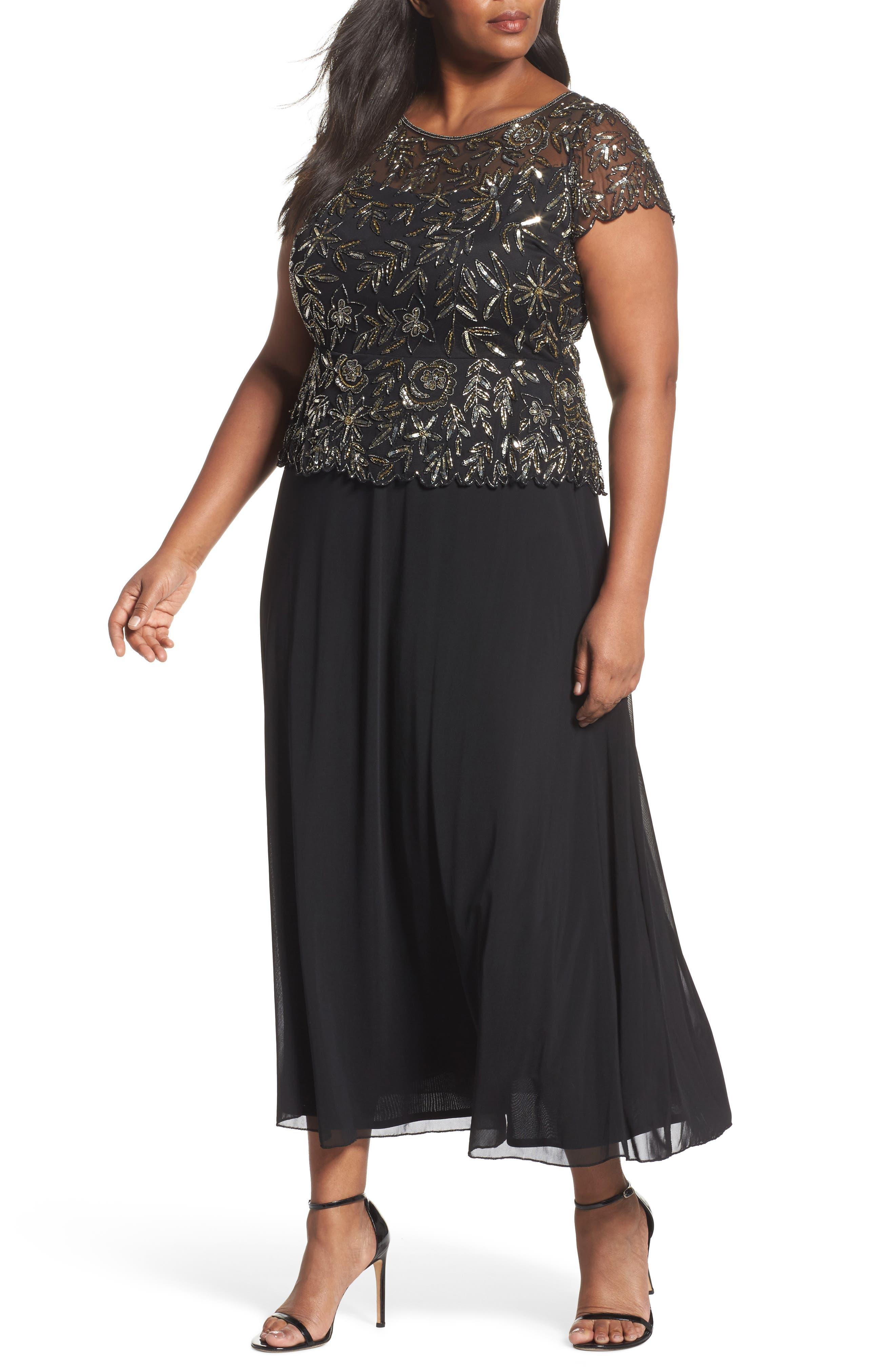 Mock 2-Pc. A-Line Gown,                         Main,                         color, Black/ Mercury