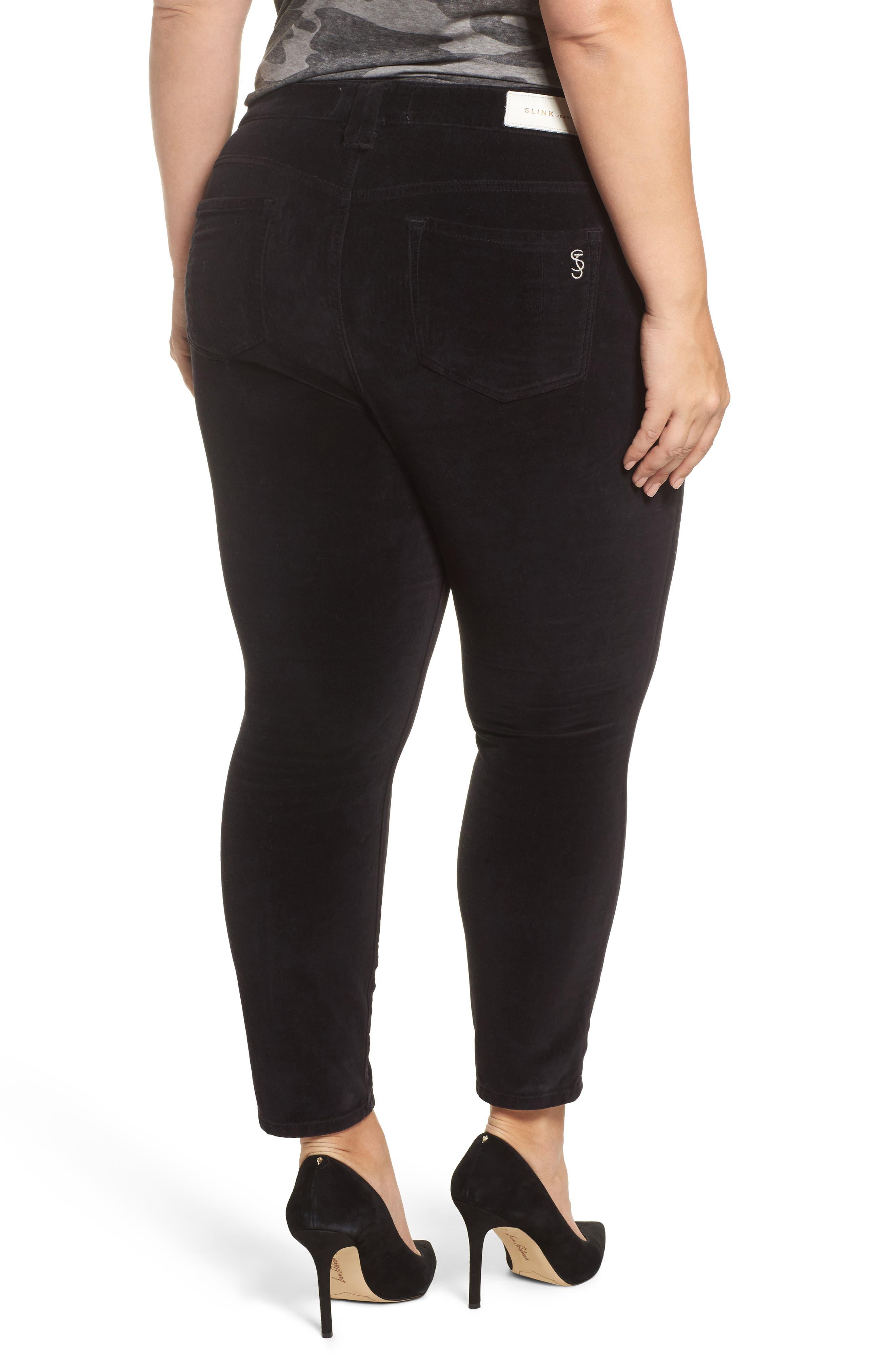 Alternate Image 2  - SLINK Jeans Velvet Skinny Ankle Jeans (Plus Size)