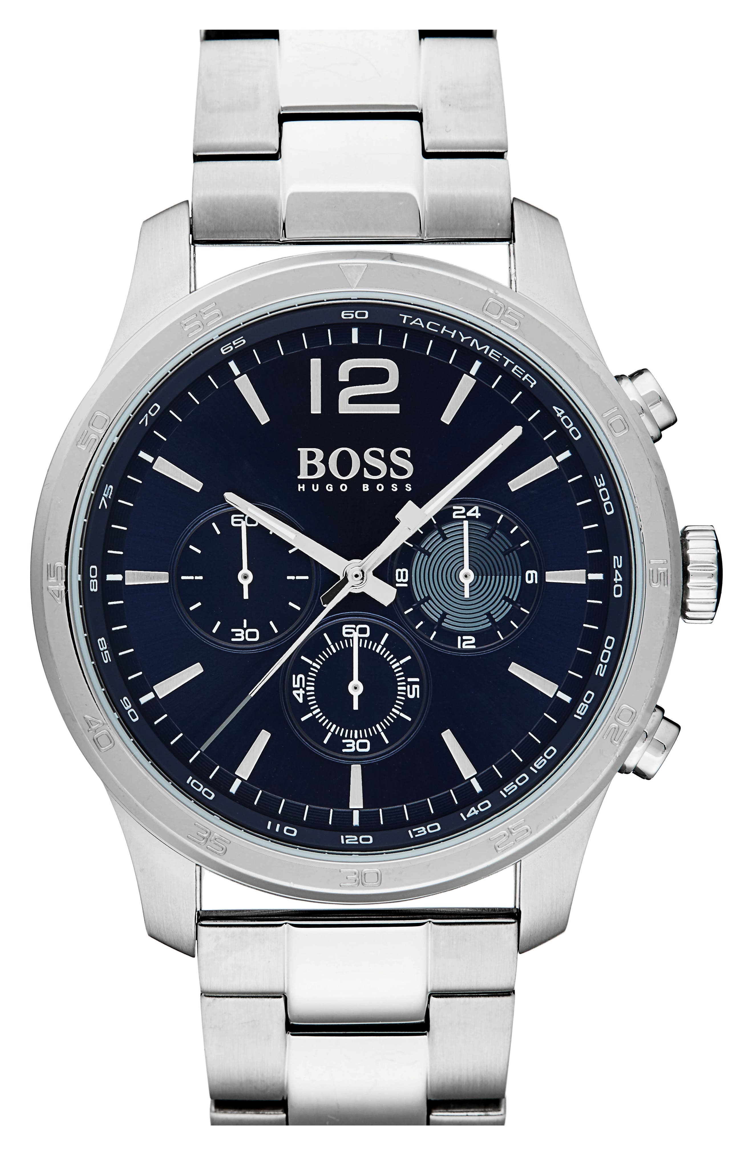 Professional Chronograph Bracelet Watch, 42mm,                         Main,                         color, Navy/ Stainless Steel