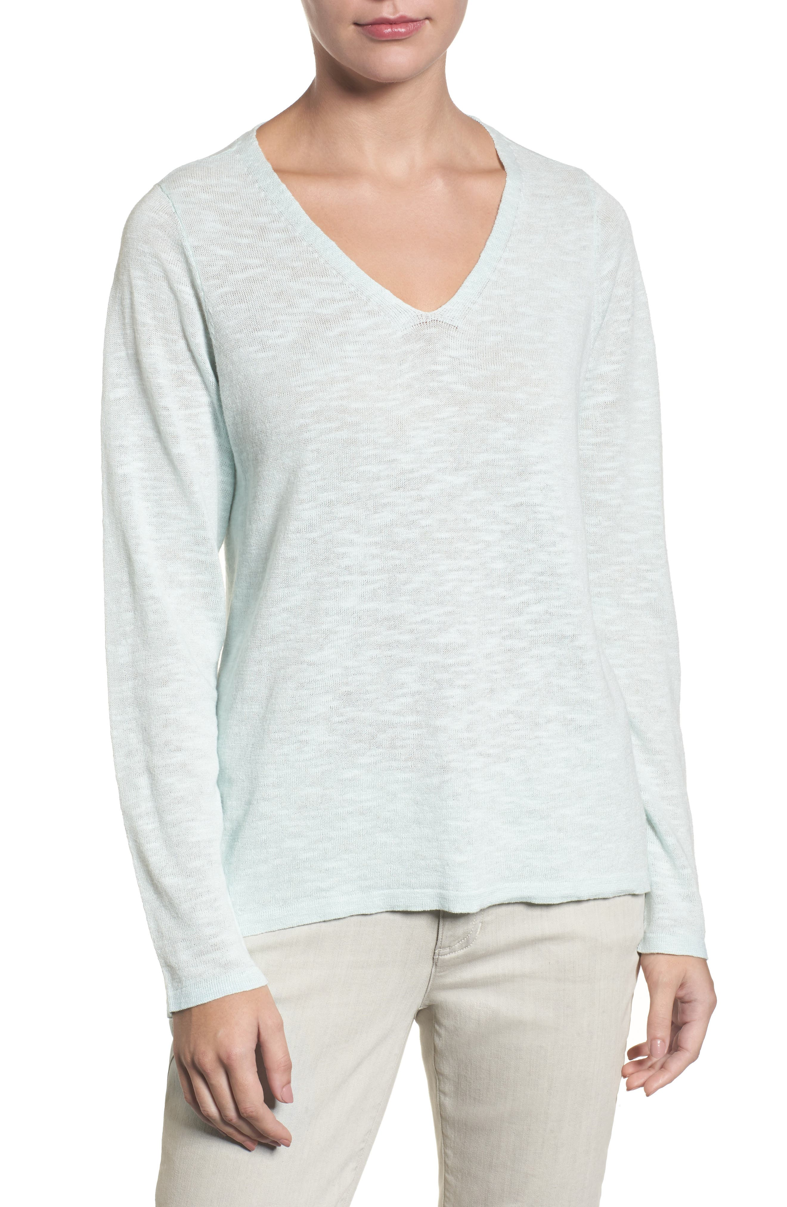 Organic Linen & Cotton V-Neck Sweater,                         Main,                         color, Aurora