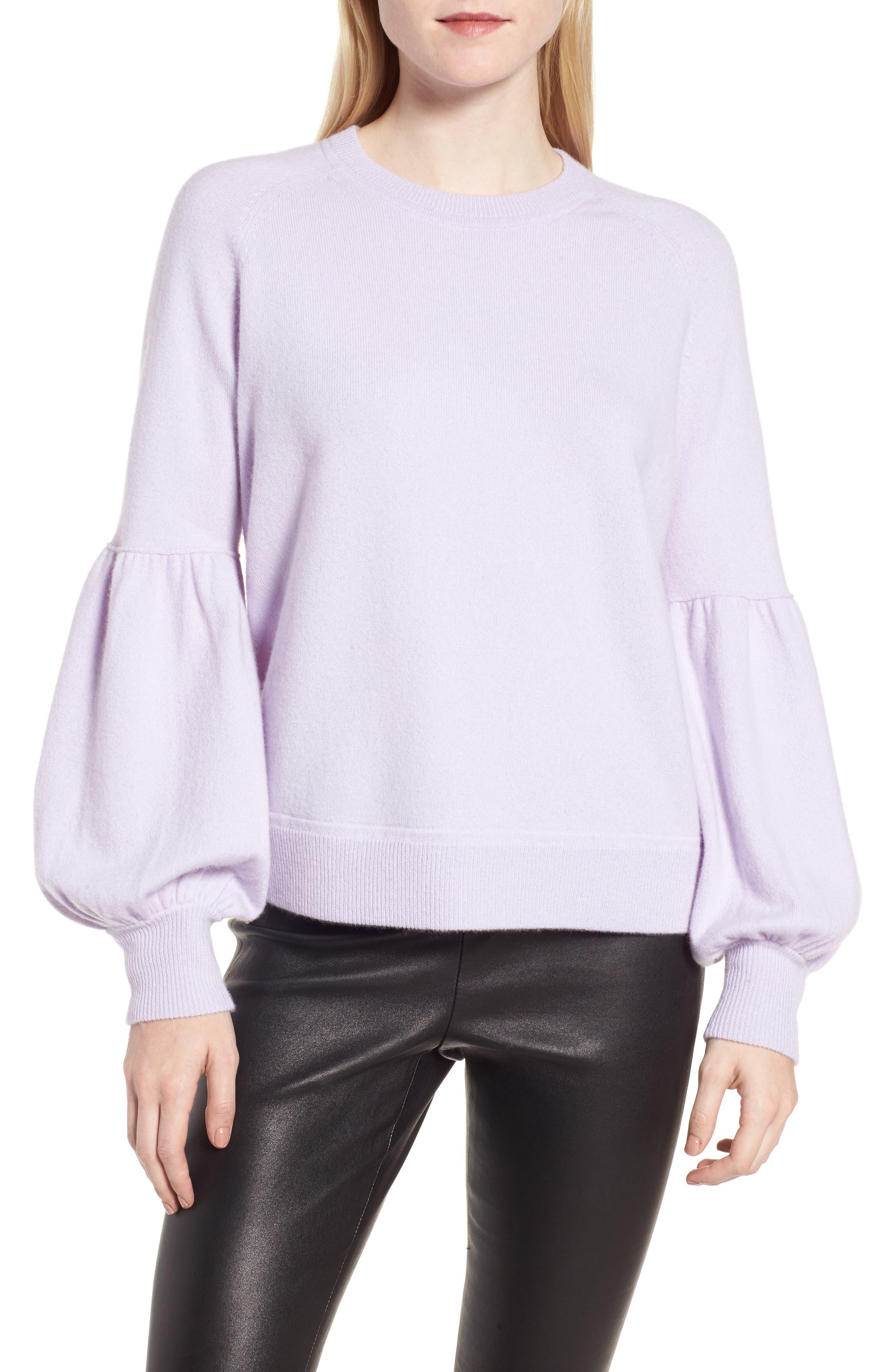 Blouson Sleeve Cashmere Blend Sweater,                         Main,                         color, Purple Thistle