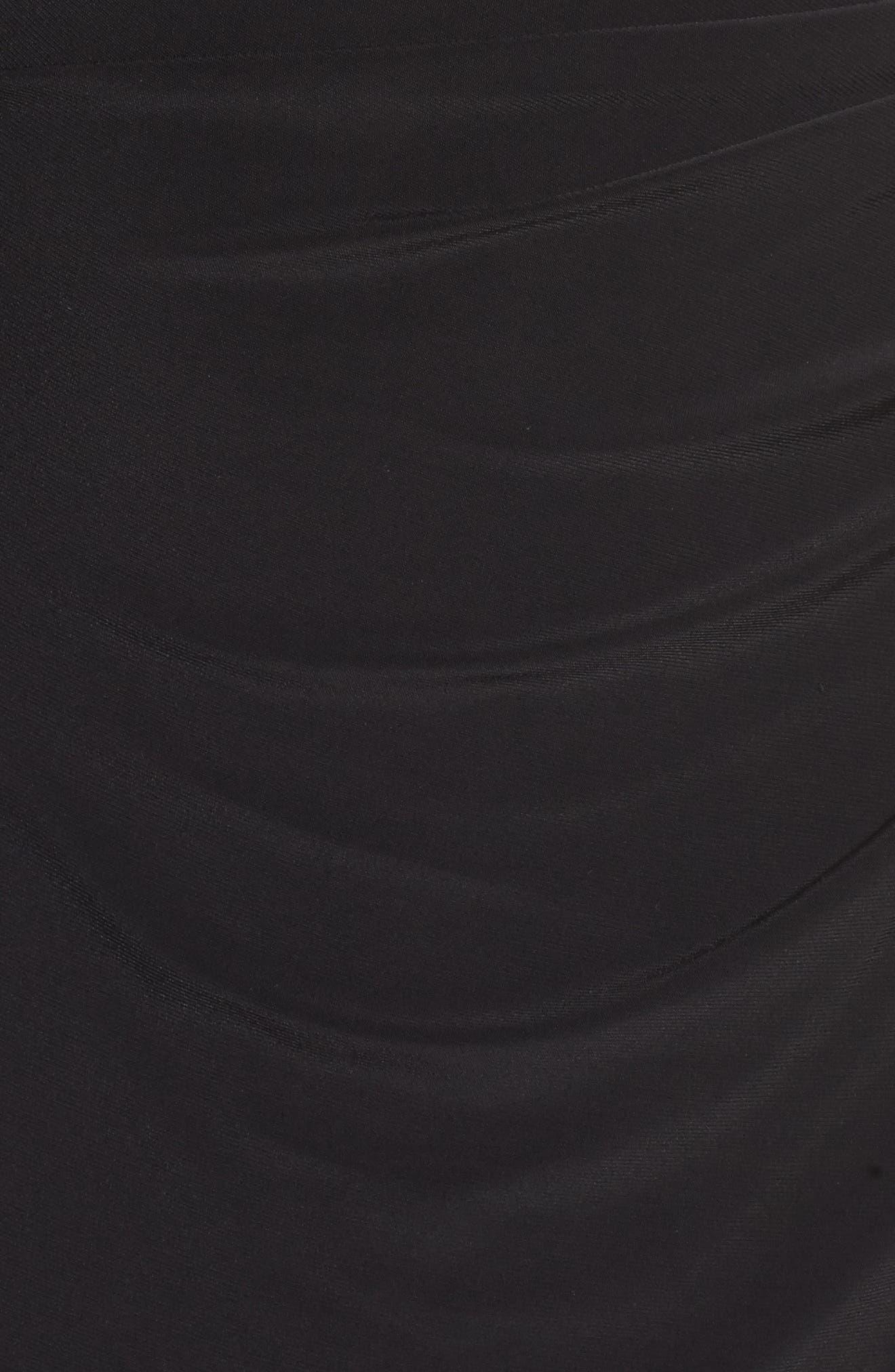 Embellished Side Tuck Jersey Gown,                             Alternate thumbnail 5, color,                             Black