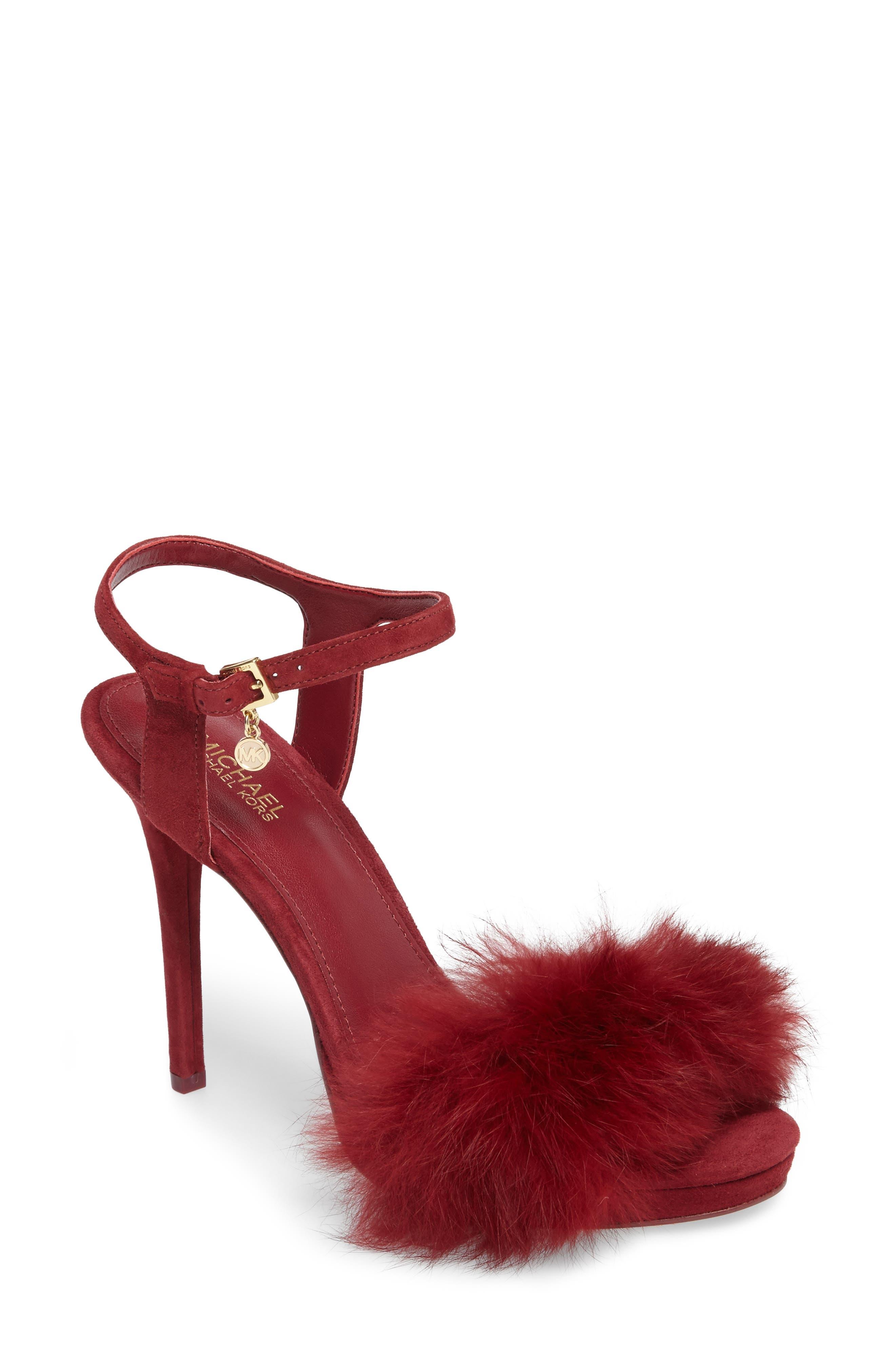 Faye Genuine Rabbit Fur Sandal,                         Main,                         color, Mulberry Suede/ Fur