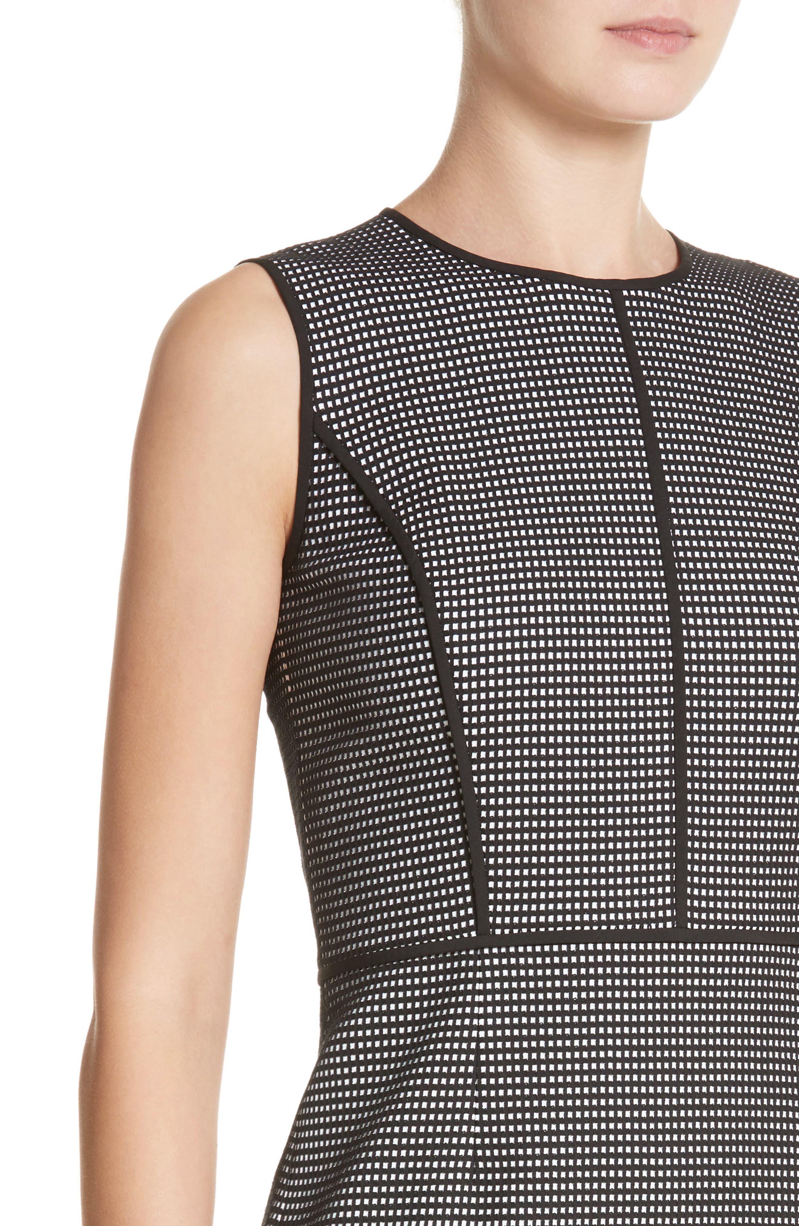 Bree Check Sheath Dress,                             Alternate thumbnail 4, color,                             Black Multi