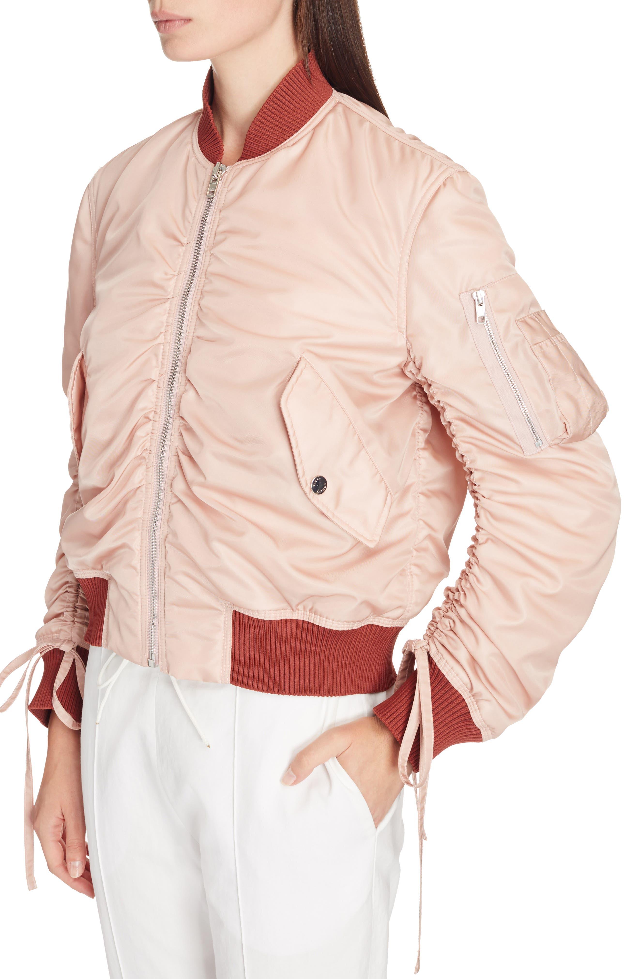 Ruched Sleeve Bomber Jacket,                             Alternate thumbnail 4, color,                             Beige
