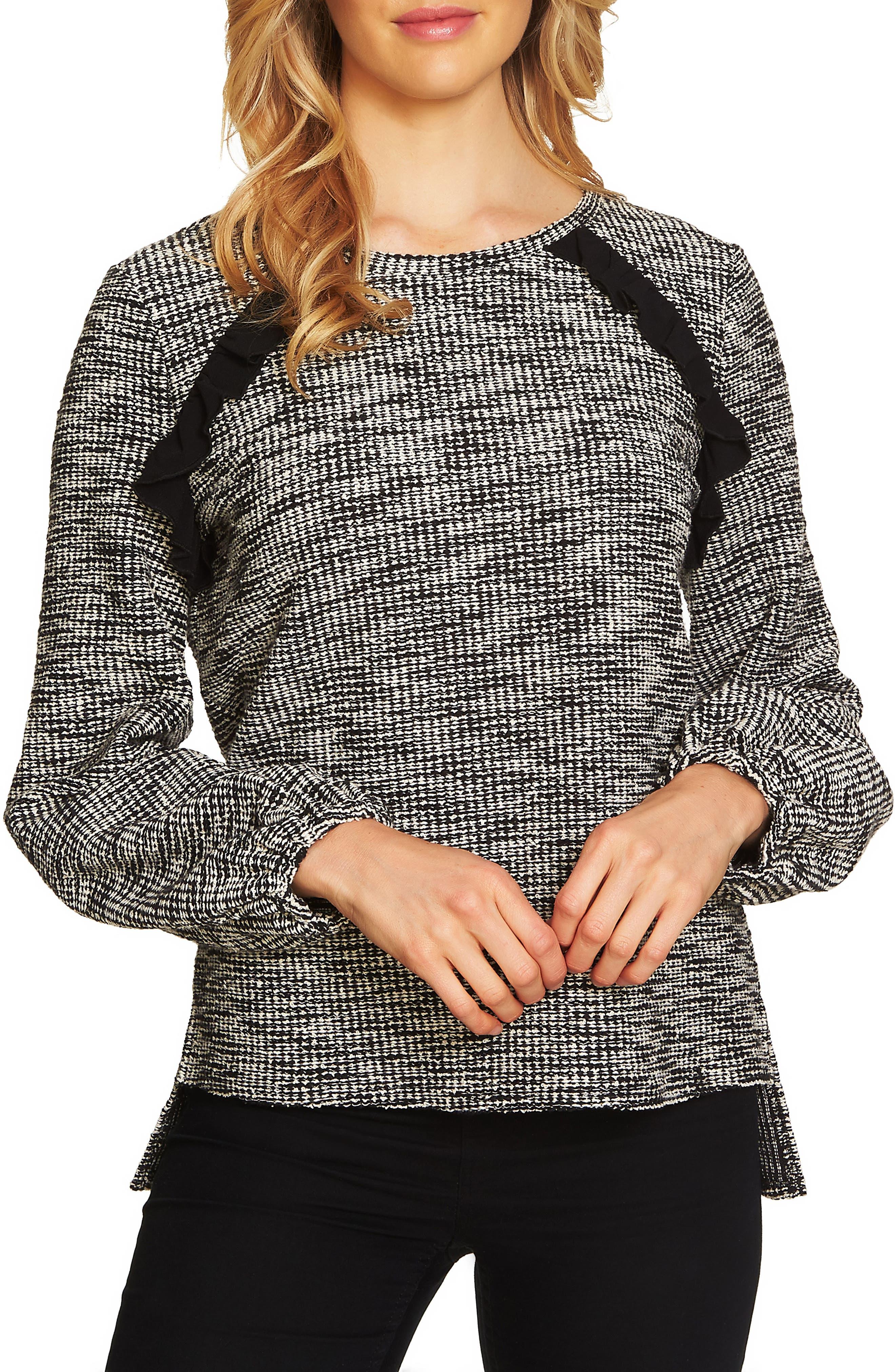 Tweedy Knit Top,                         Main,                         color, Rich Black