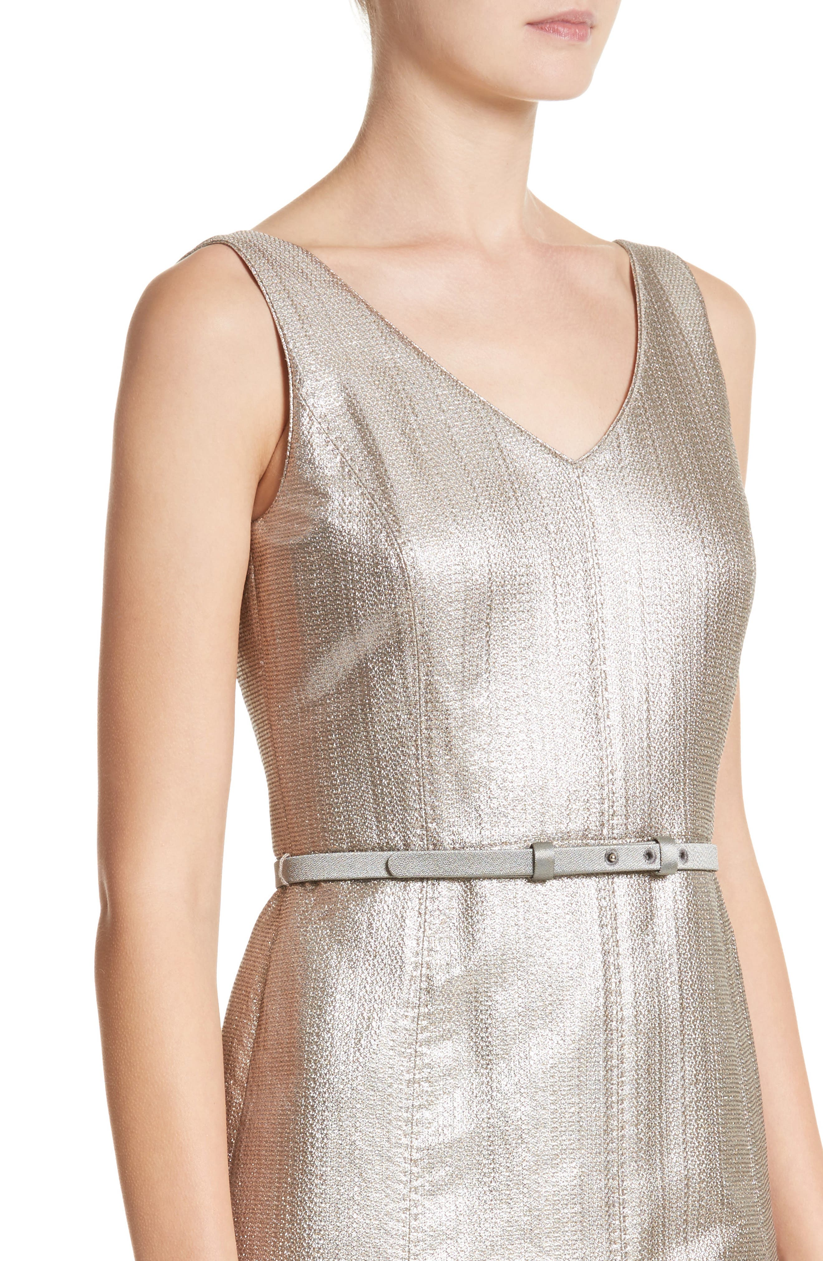 Lois Ceremonial Cloth Dress,                             Alternate thumbnail 4, color,                             Oyster Metallic