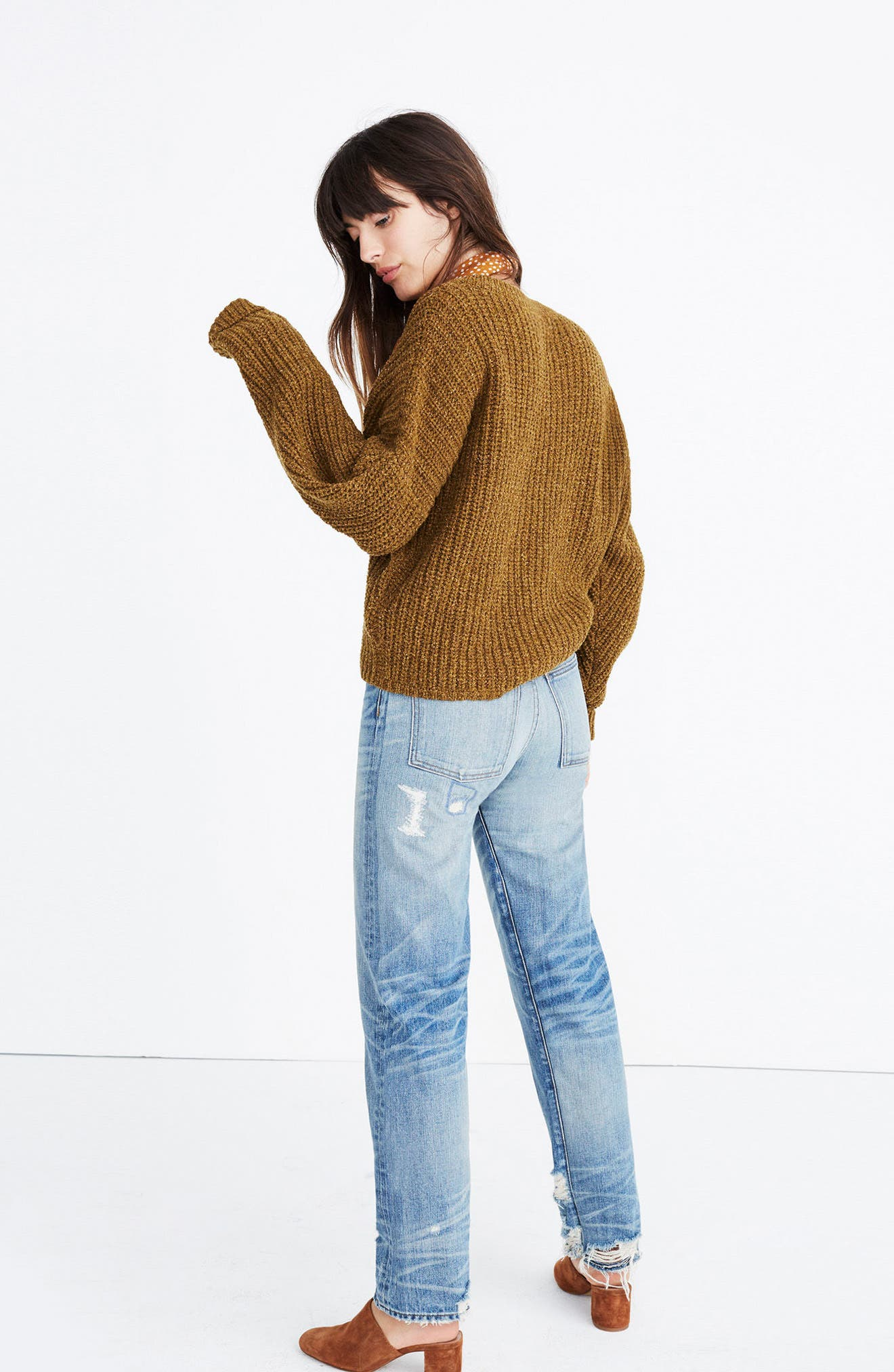 Pleat Sleeve Pullover Sweater,                             Alternate thumbnail 2, color,                             Ripened Olive
