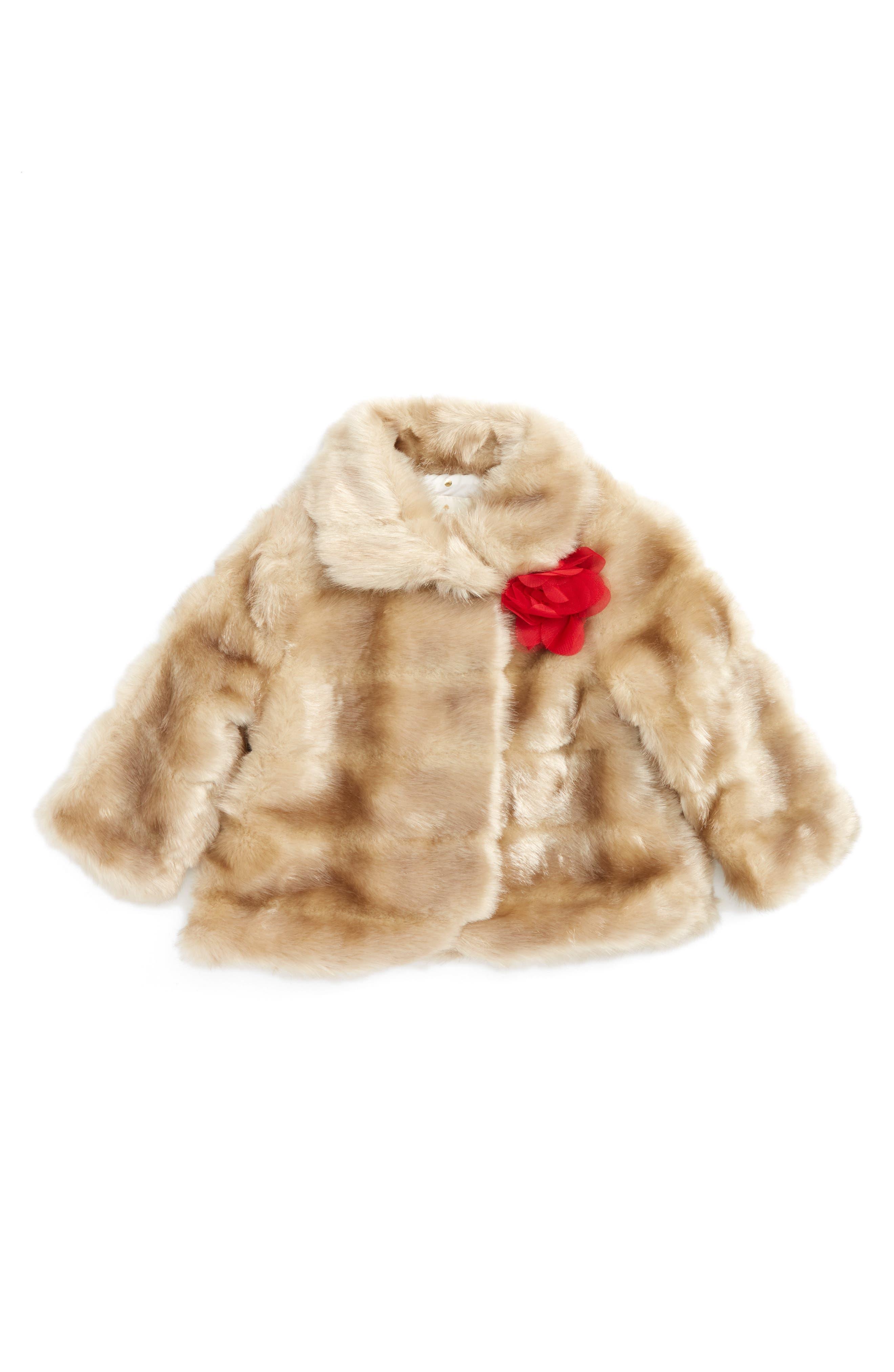 Alternate Image 1 Selected - kate spade new york faux mink fur coat (Baby Girls)