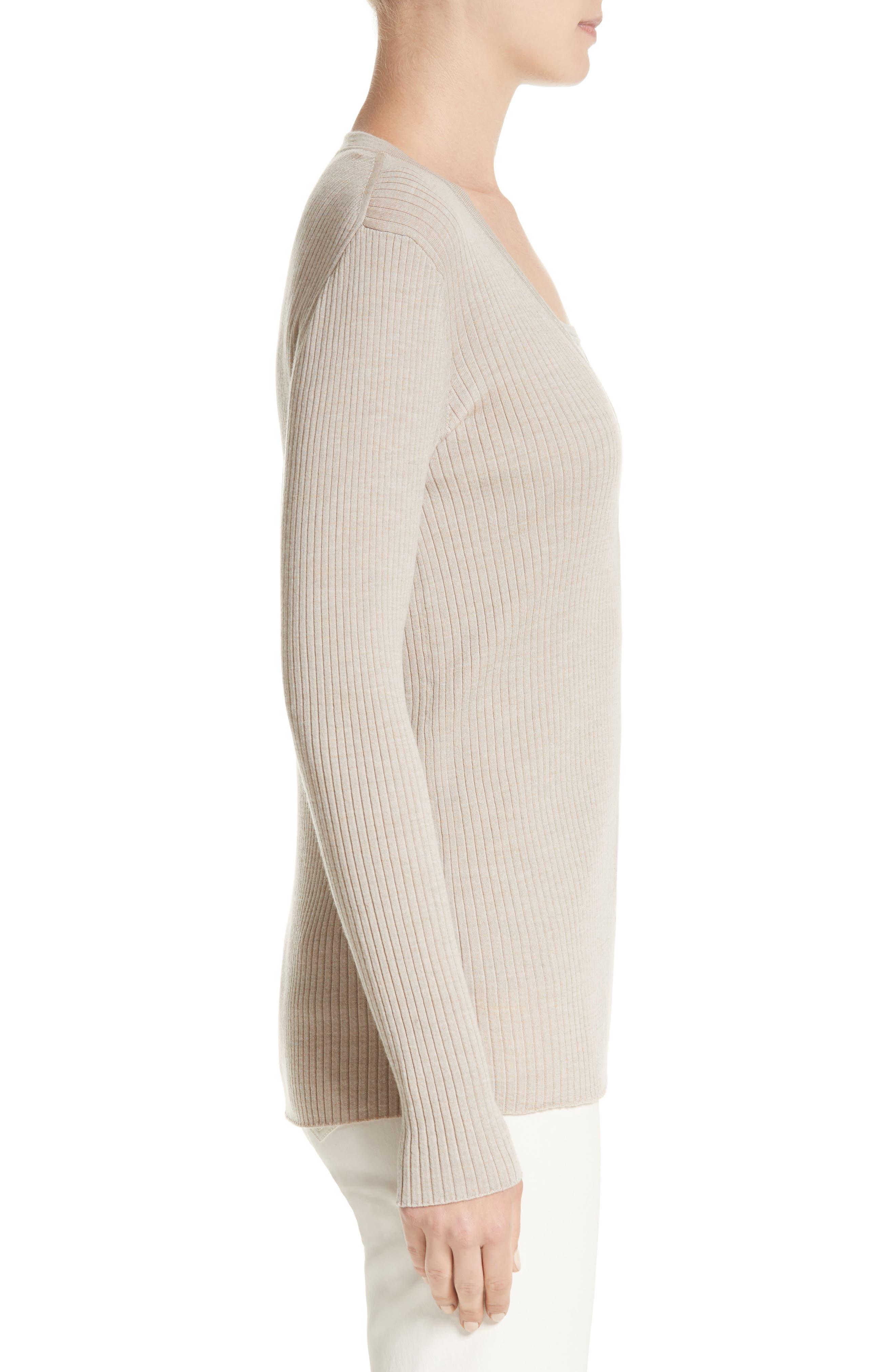 Metallic Wool Modern Ribbed Cardigan,                             Alternate thumbnail 4, color,                             Luxor Melange