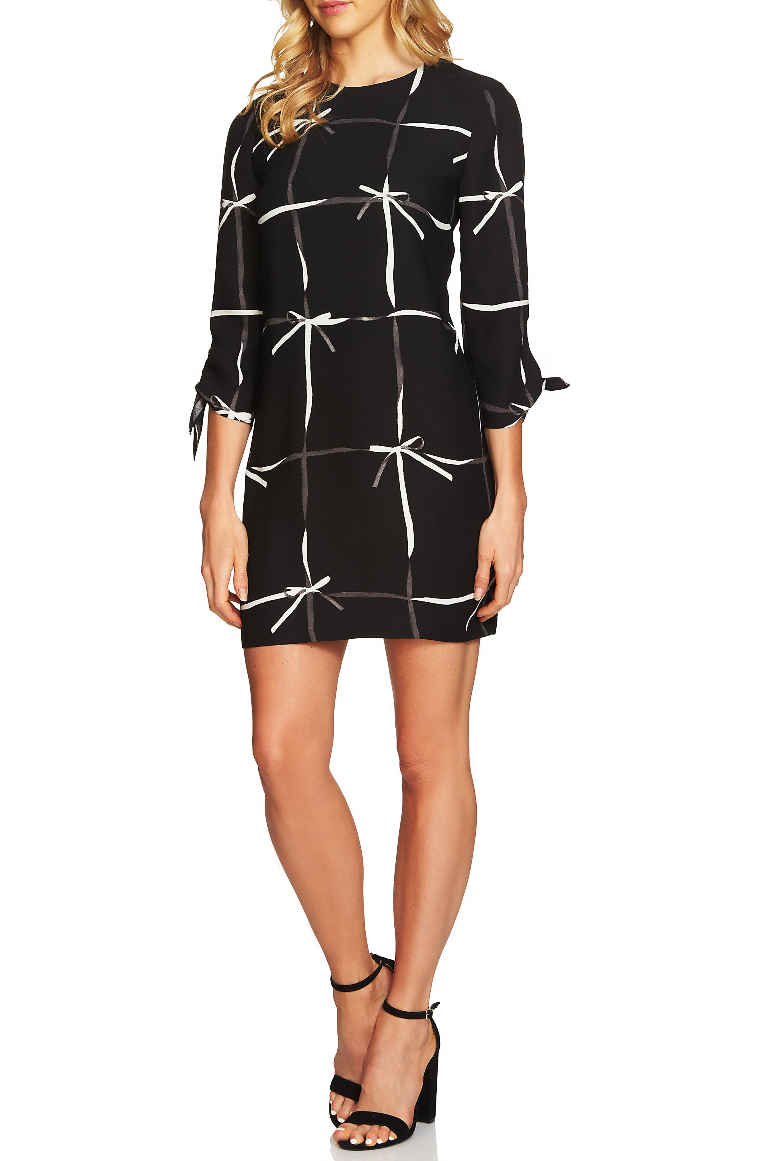 Alternate Image 1 Selected - CeCe Lattice Ribbons Tie Sleeve Dress