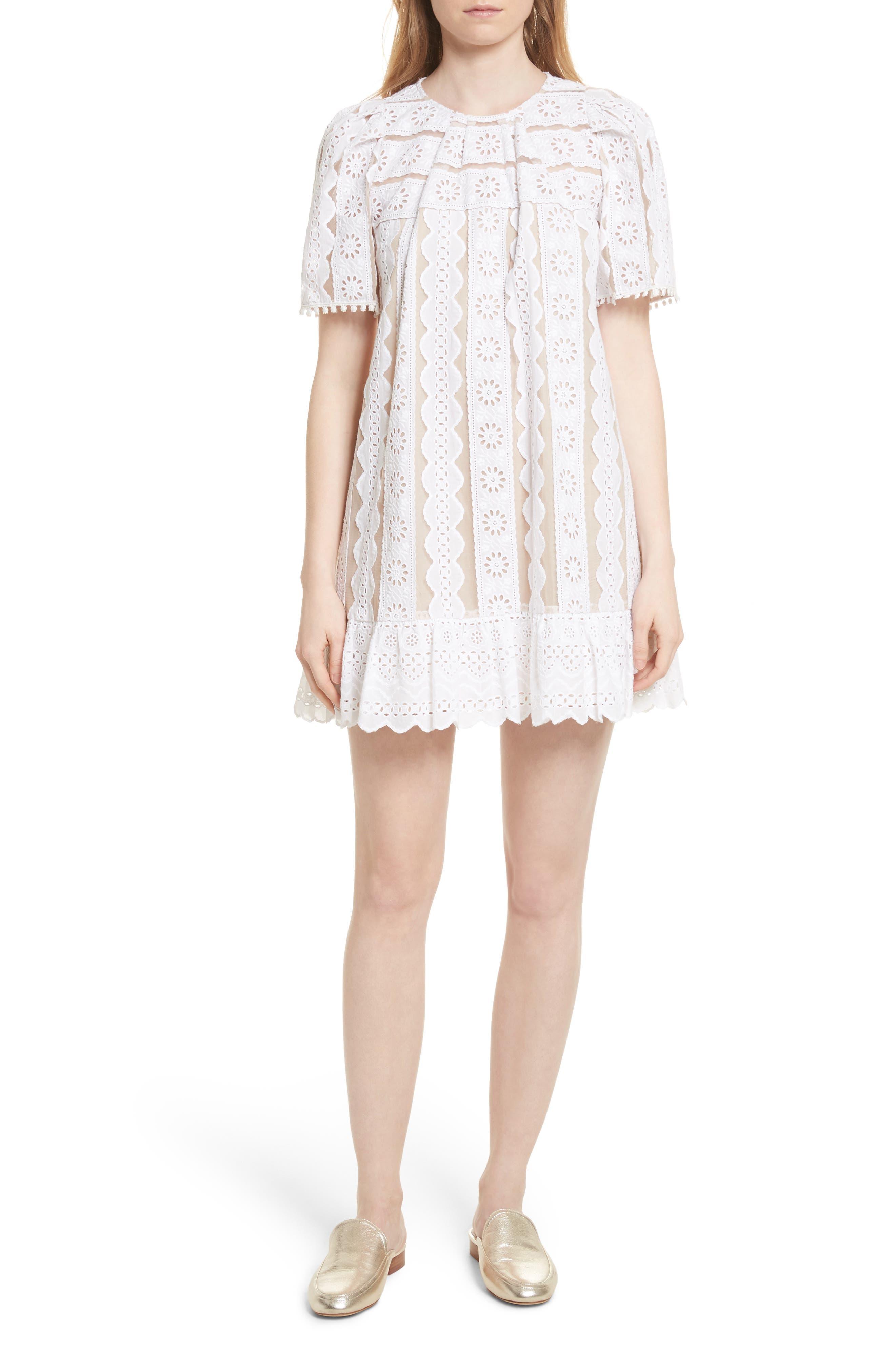 Luna Eyelet Tunic Dress,                         Main,                         color, White W/ Nude Mesh