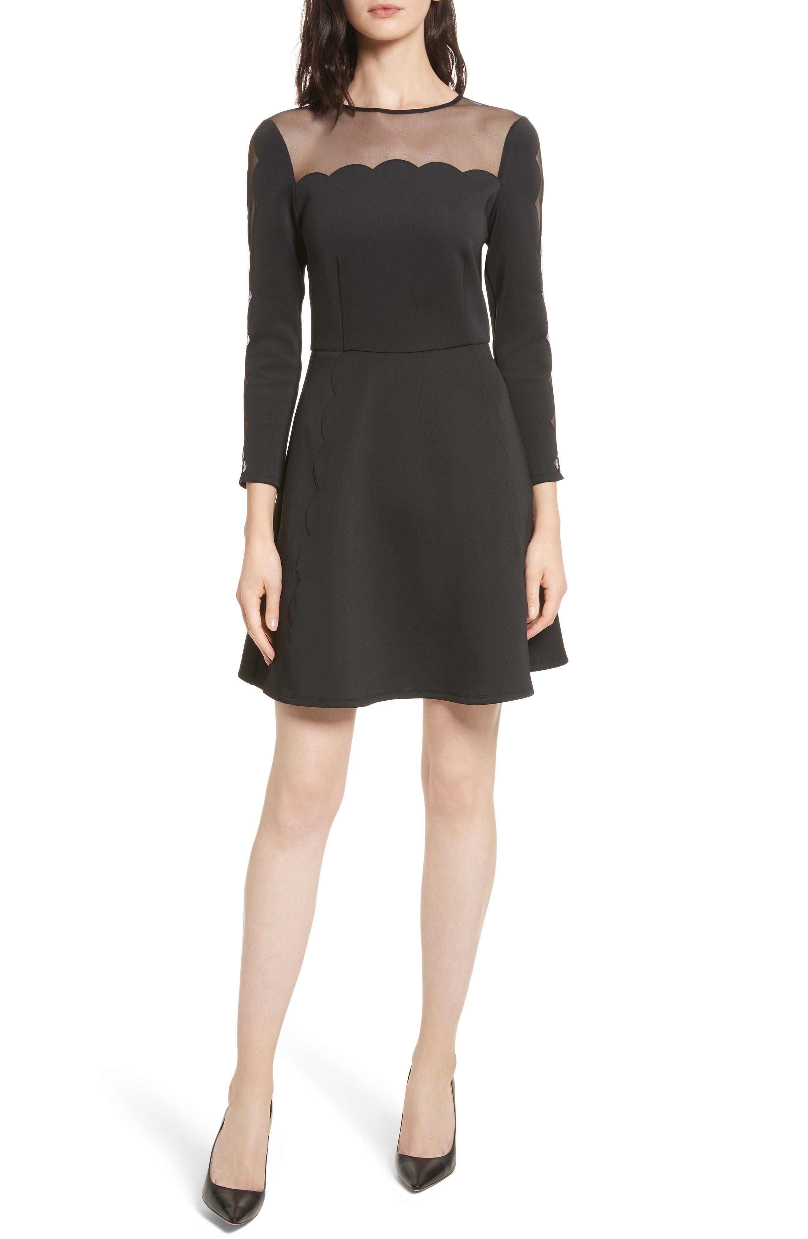 Kikoh Mesh Panel Skater Dress,                         Main,                         color, Black