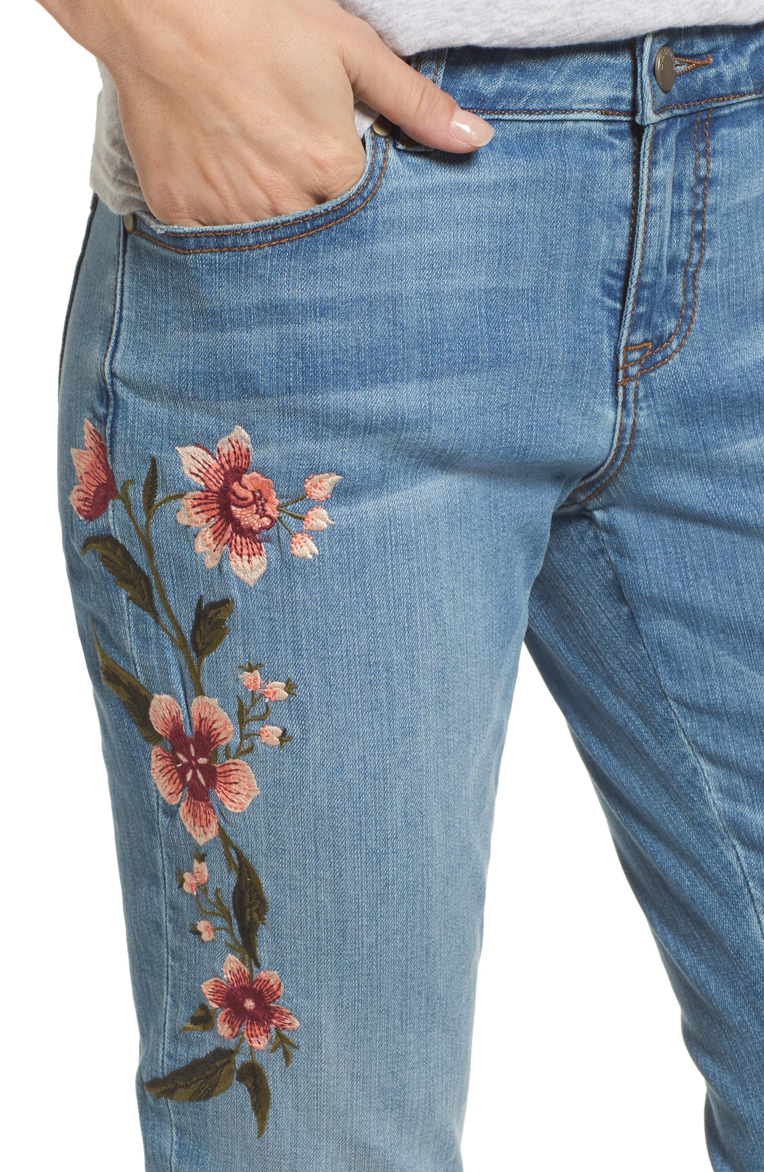 Embroidered Skinny Boyfriend Jeans,                             Alternate thumbnail 5, color,                             Blue Frontier
