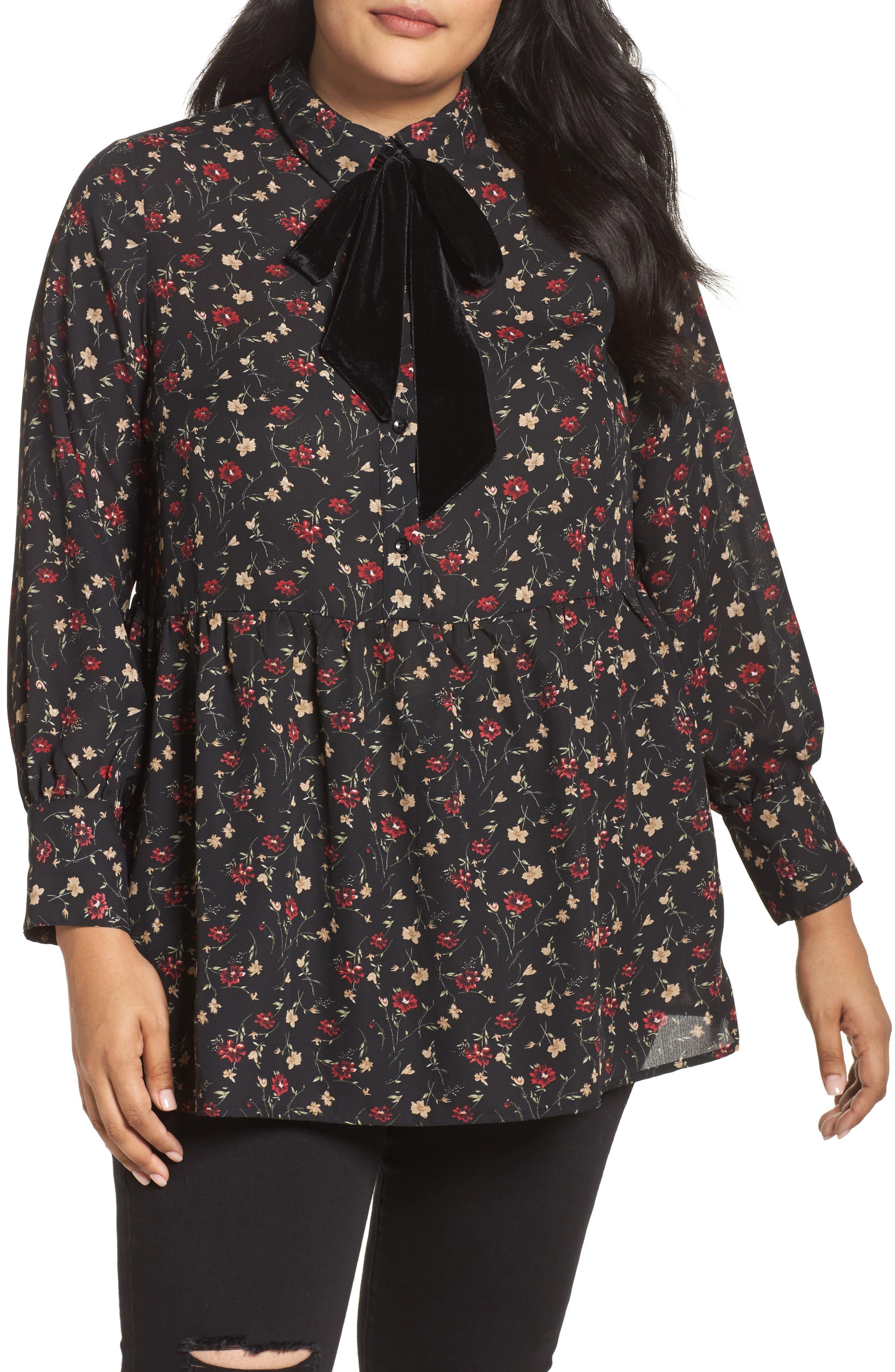 Velvet Tie Floral Blouse,                             Main thumbnail 1, color,                             Multi