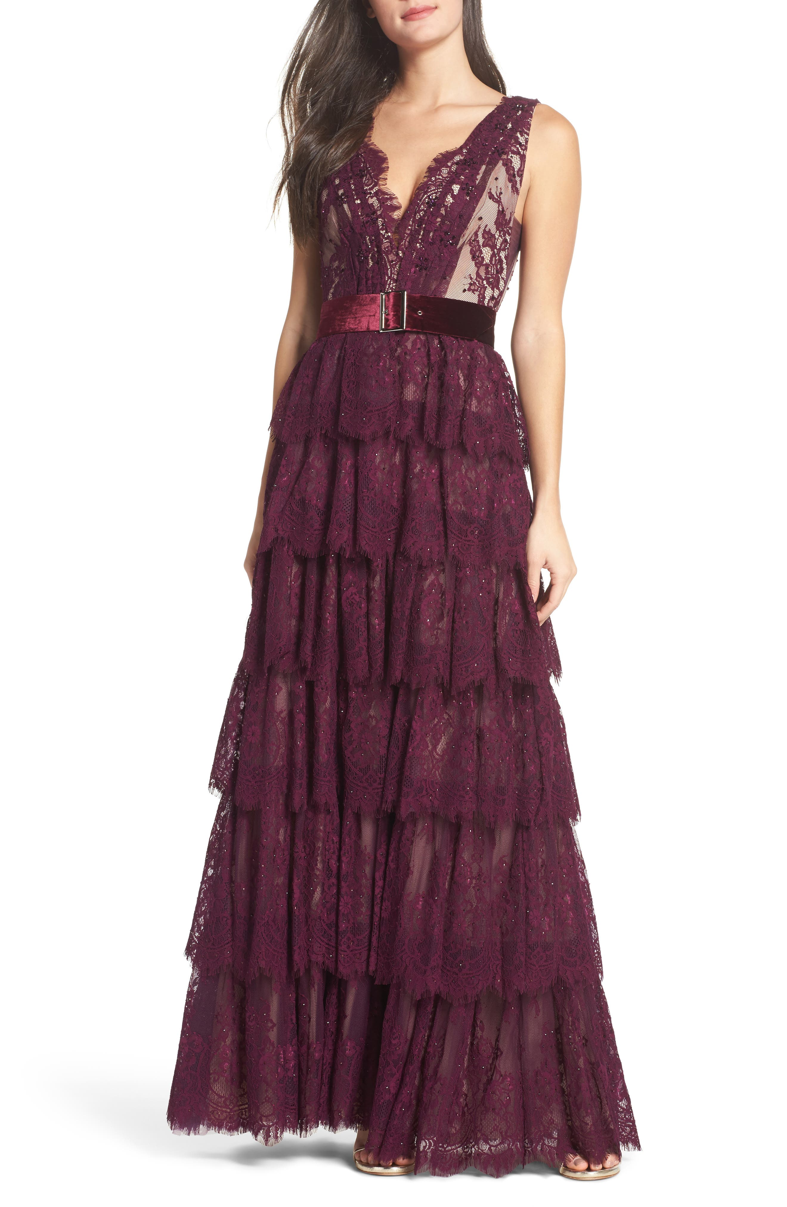 Alternate Image 1 Selected - Mac Duggal Tiered Lace Column Gown