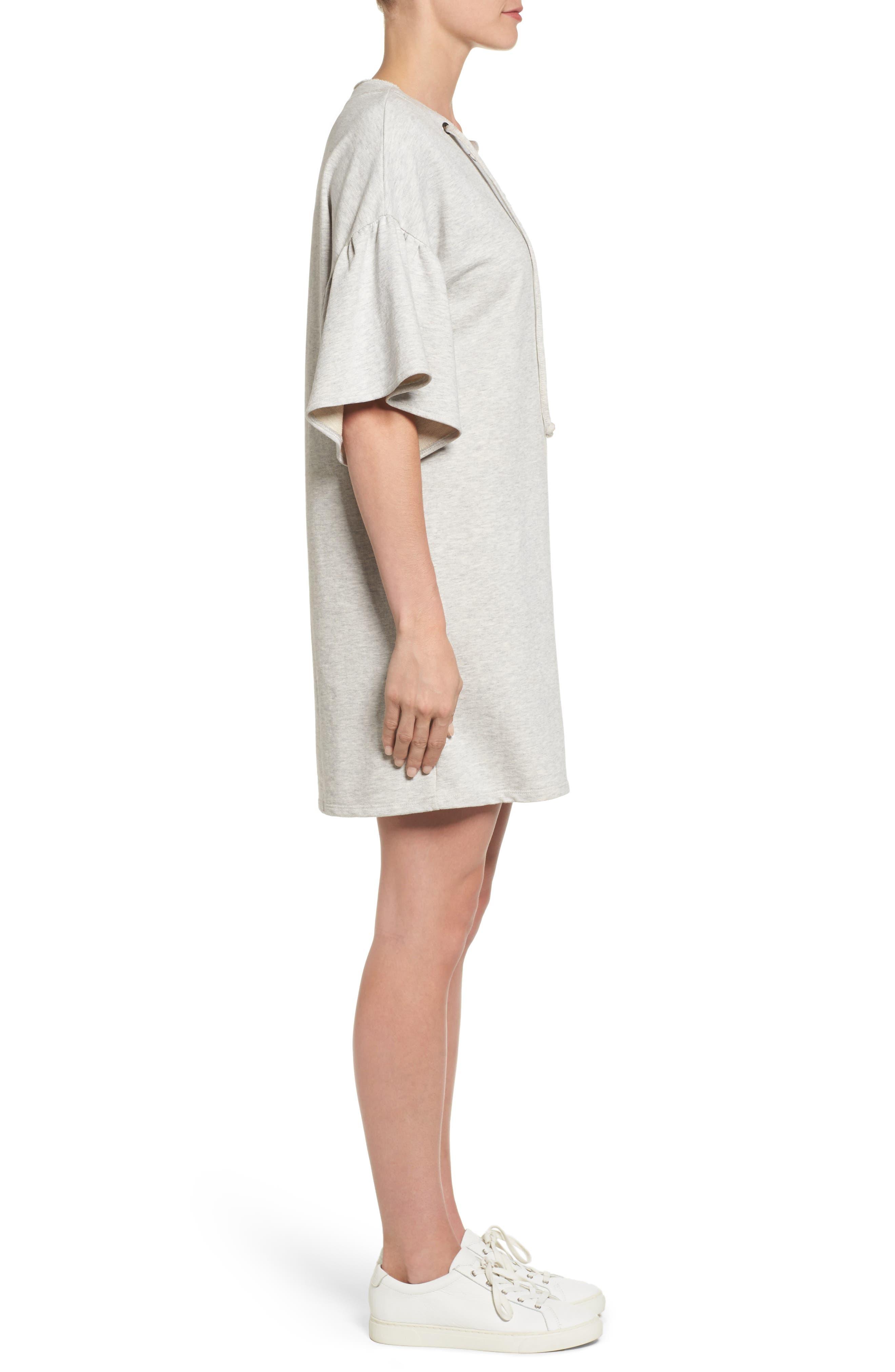 Mariska Fleece Knit Dress,                             Alternate thumbnail 4, color,                             Heather Sterling