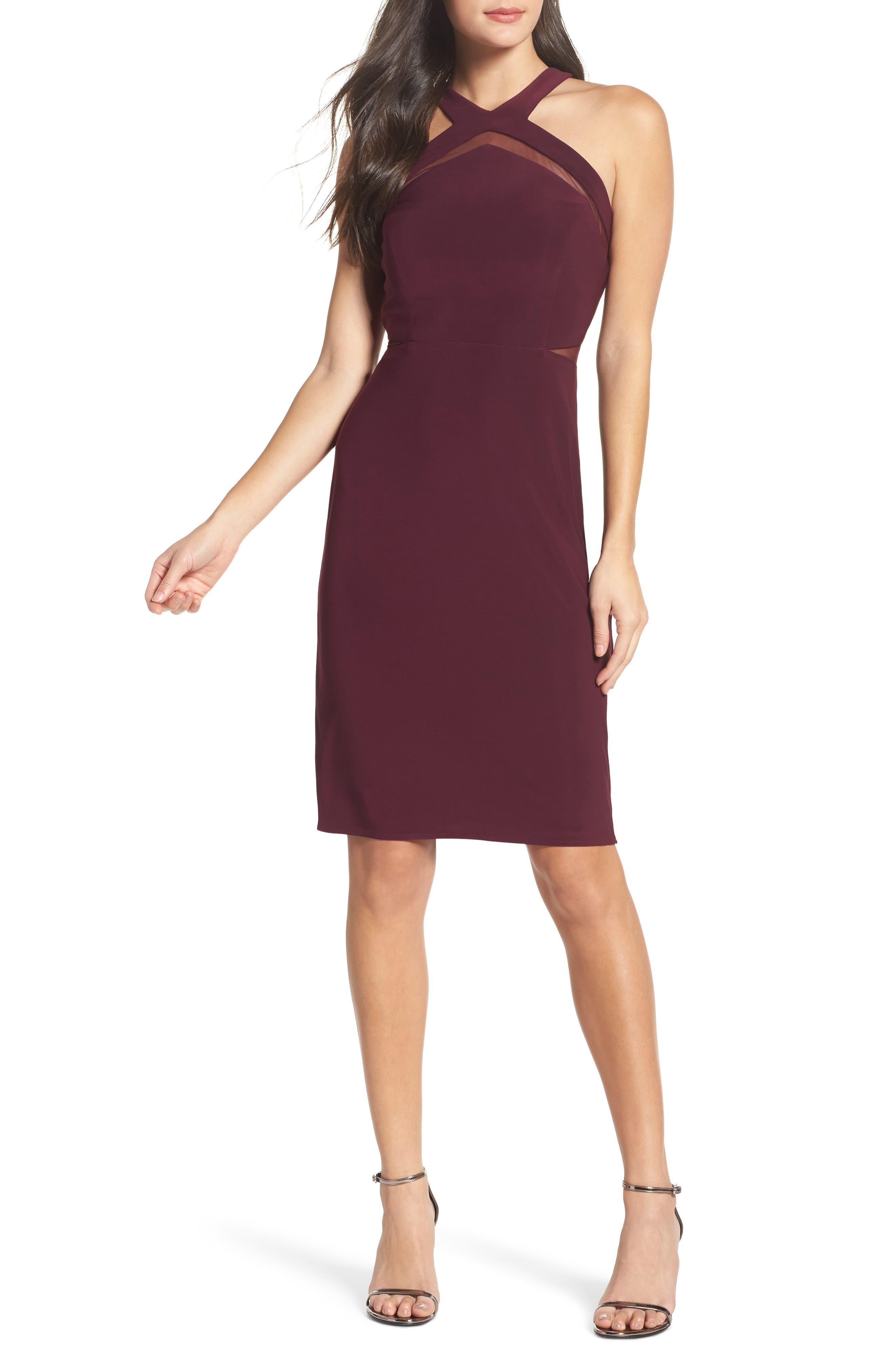 Mesh Inset Sheath Dress,                         Main,                         color, Wine