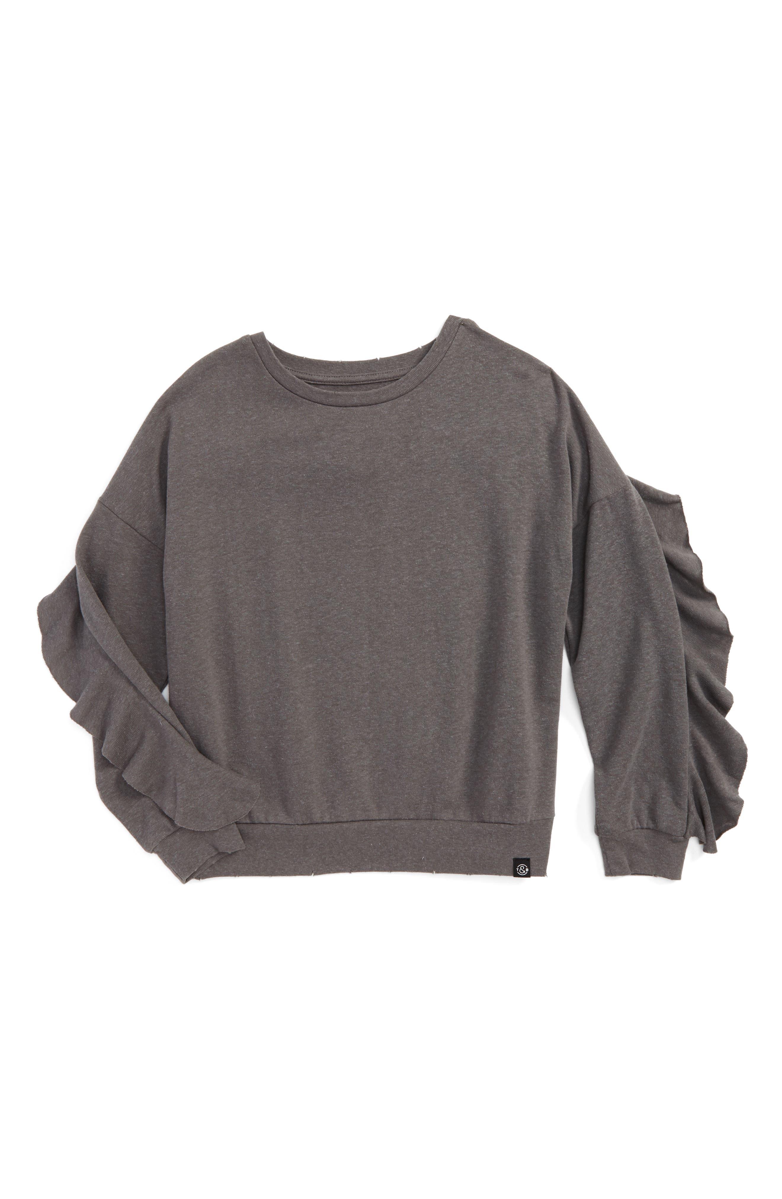 Ruffle Sweatshirt,                         Main,                         color, Grey