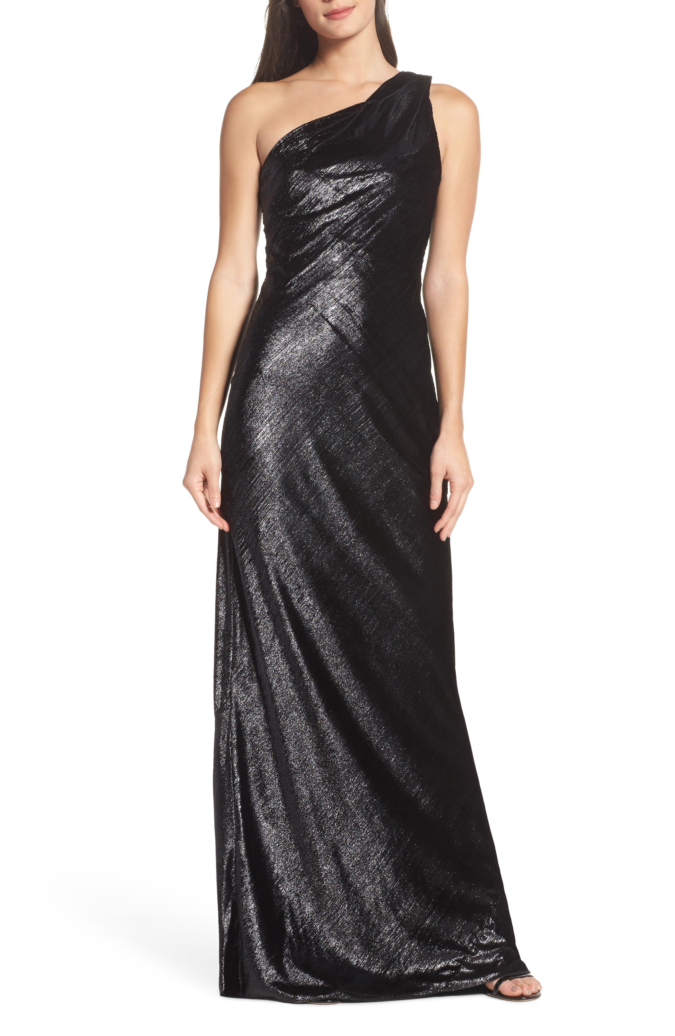 Maria Bianca Nero Stelle Metallic Velvet One-Shoulder Gown