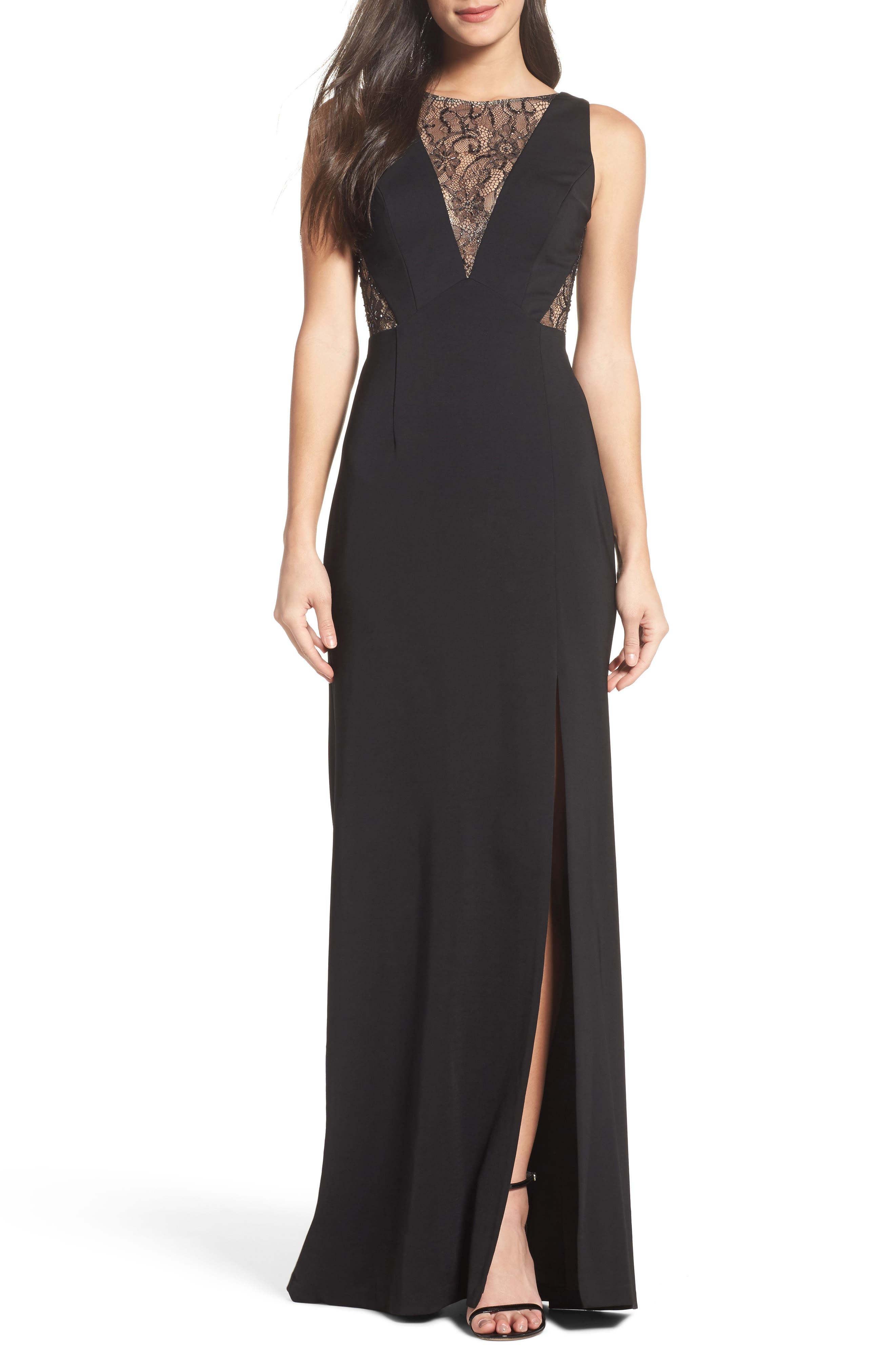 Lace & Jersey Gown,                         Main,                         color, Black