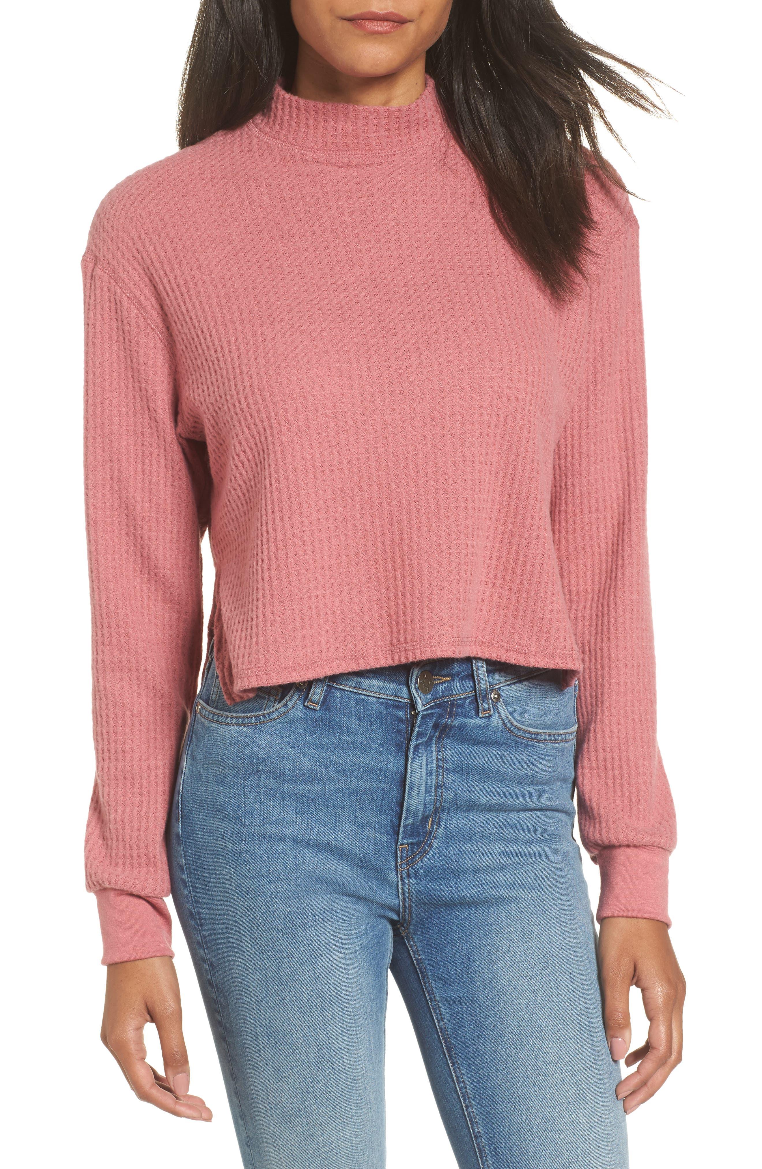 Thermal Crop Top,                         Main,                         color, Velvet Blush