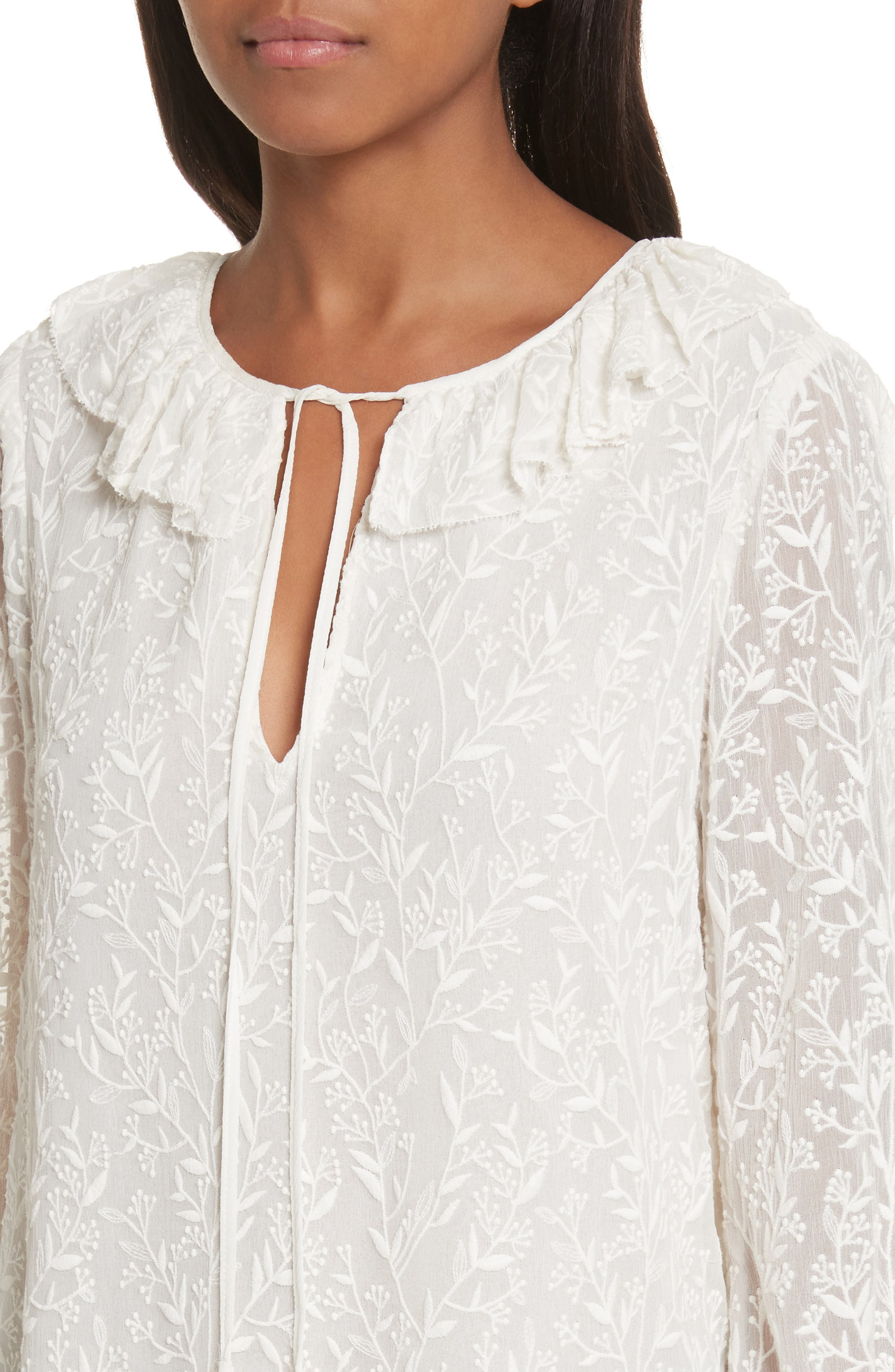 Alternate Image 4  - Rebecca Taylor Textured Vines Silk Top
