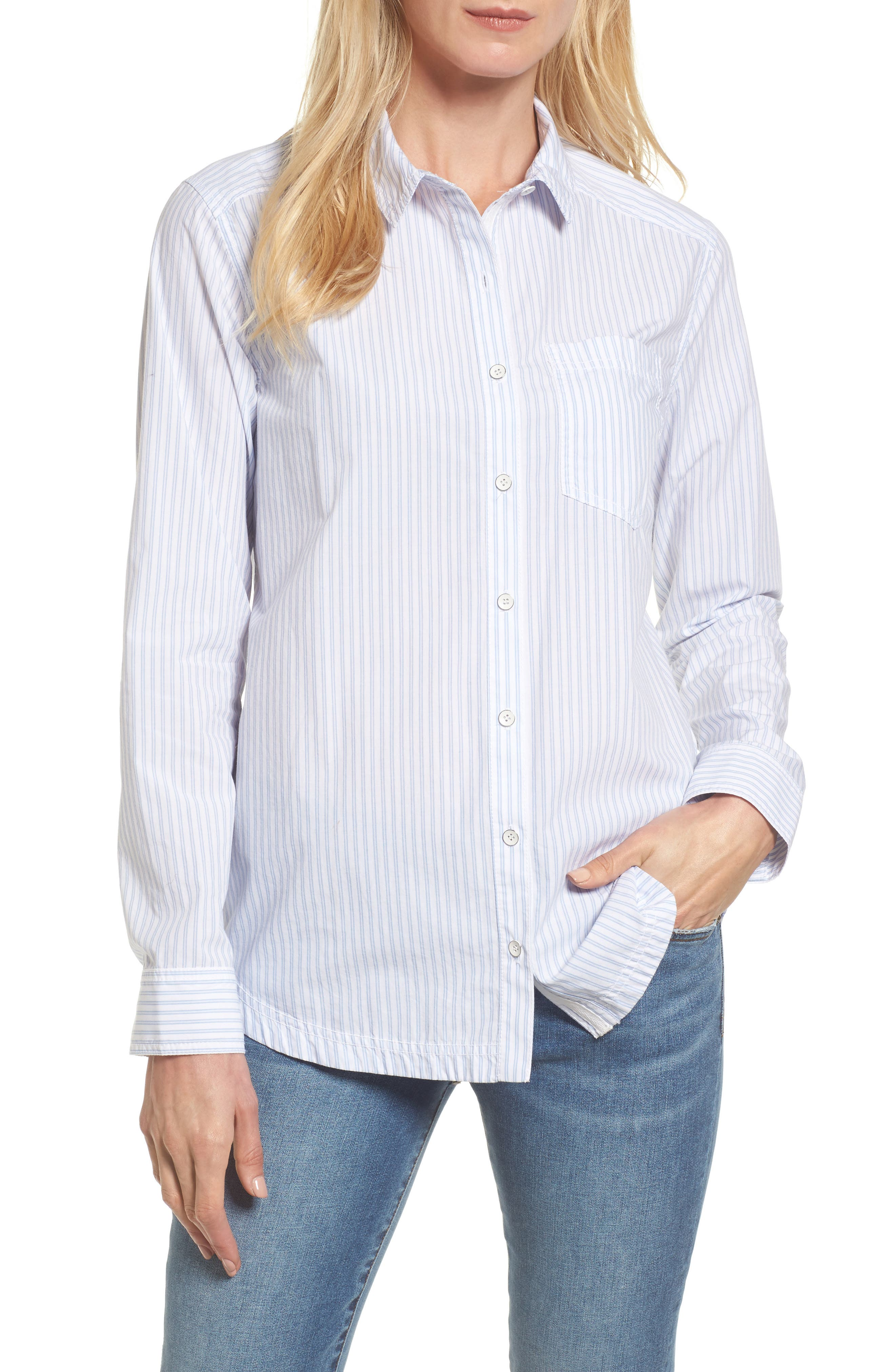 Button Front Pocket Shirt,                             Main thumbnail 1, color,                             White- Blue Stripe