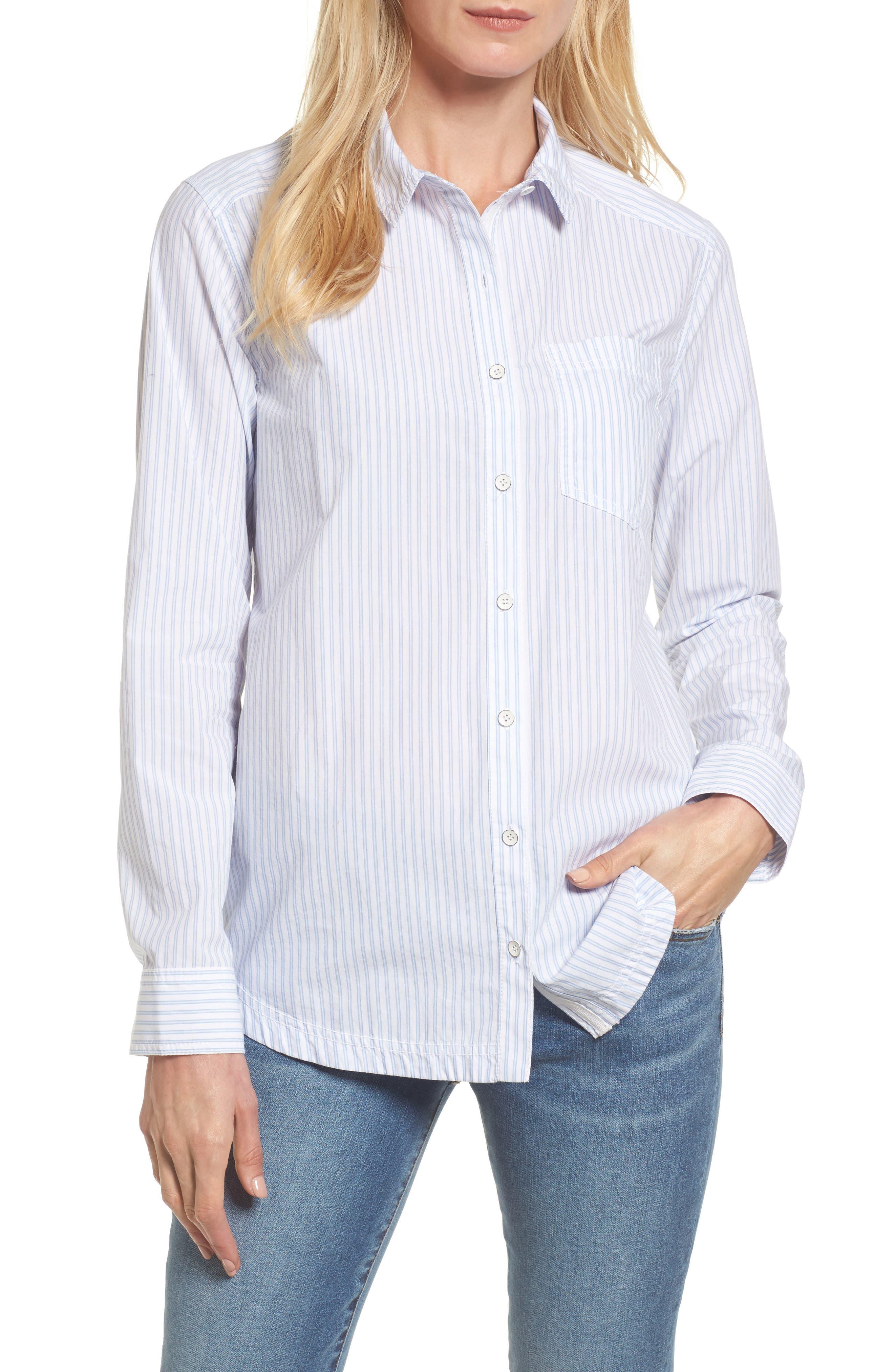 Button Front Pocket Shirt,                         Main,                         color, White- Blue Stripe