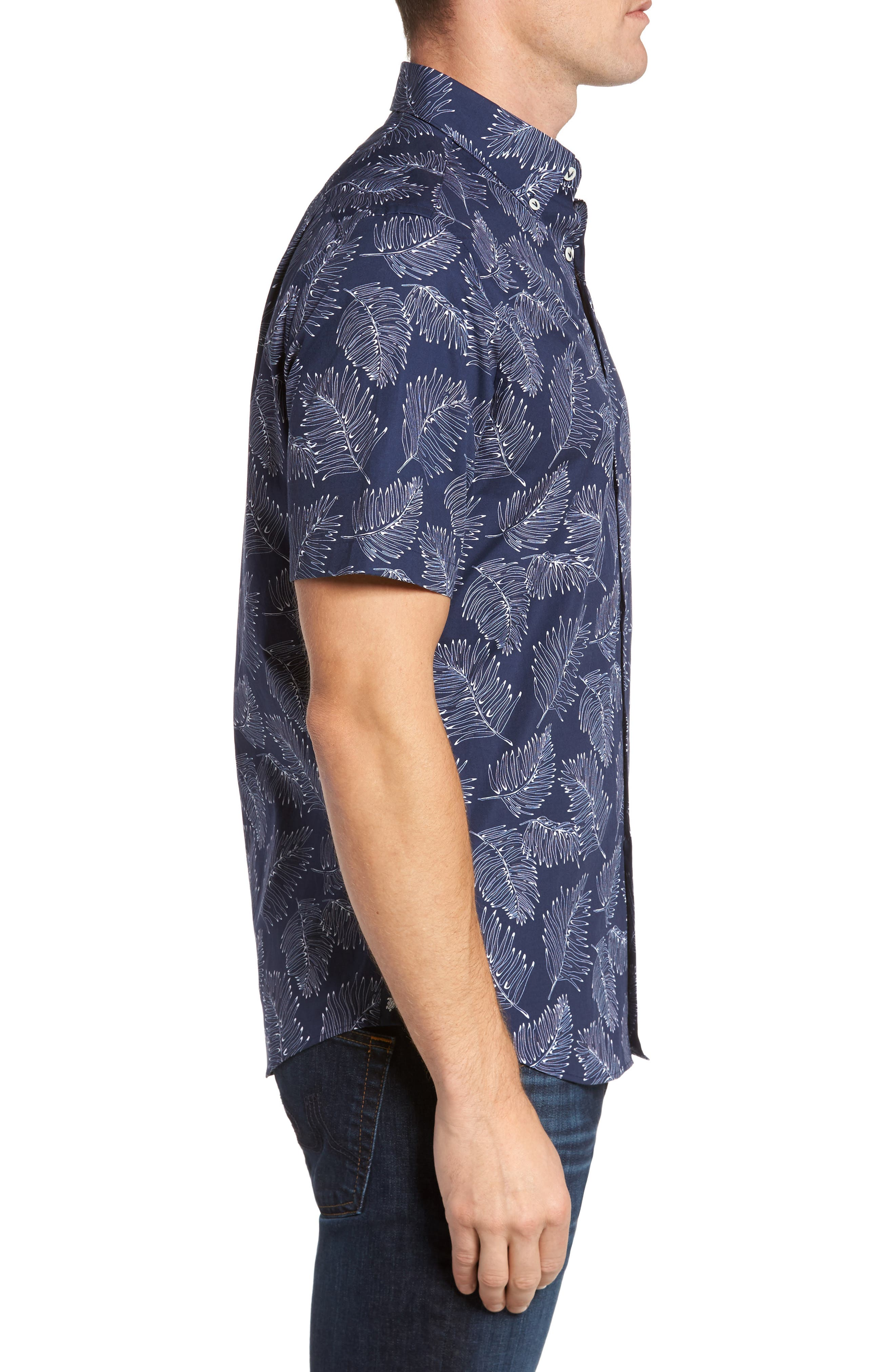 Slim Fit Palm Sport Shirt,                             Alternate thumbnail 4, color,                             V-Blue