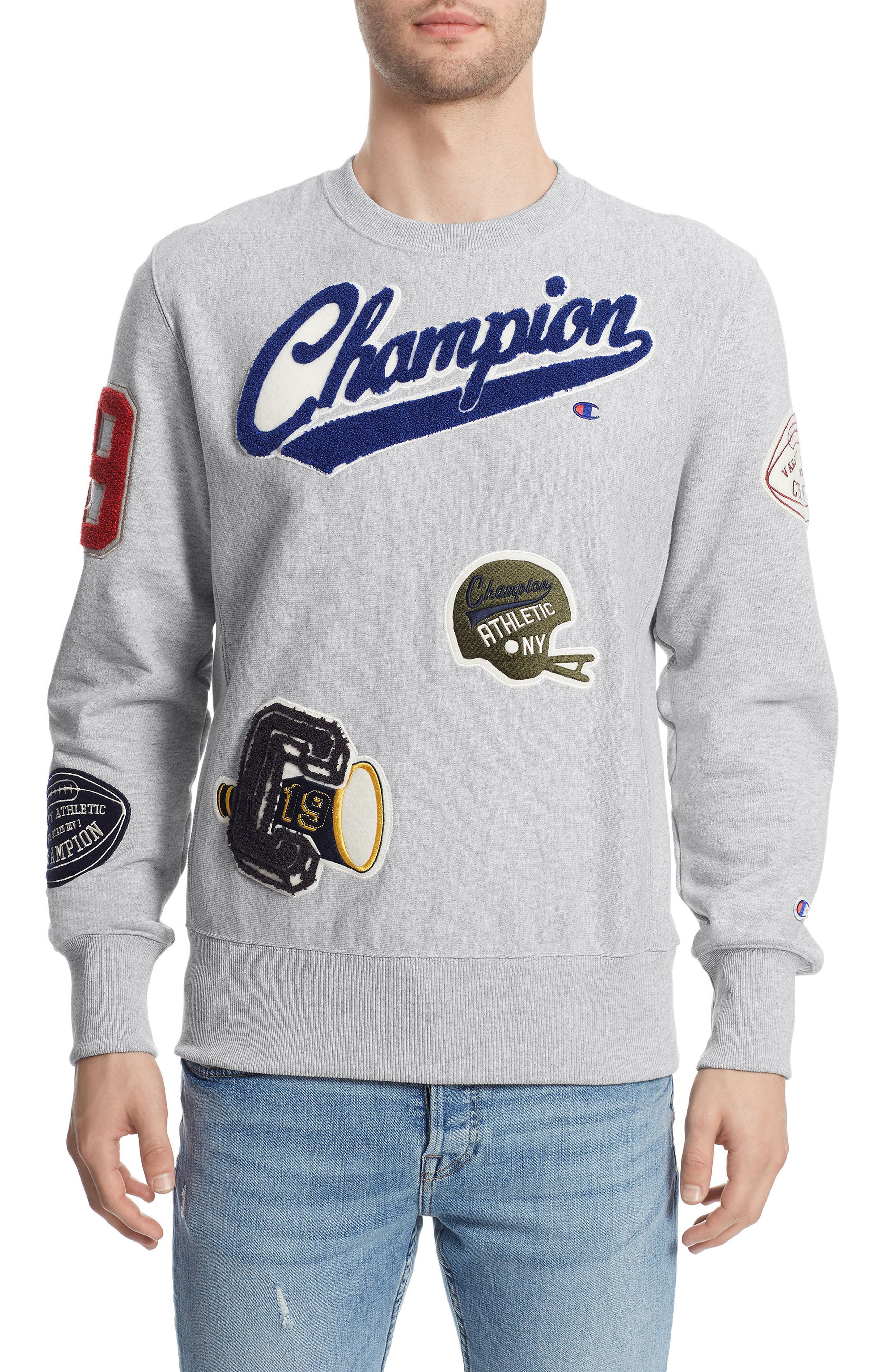 Main Image - Champion Reverse Weave® Patch Sweatshirt