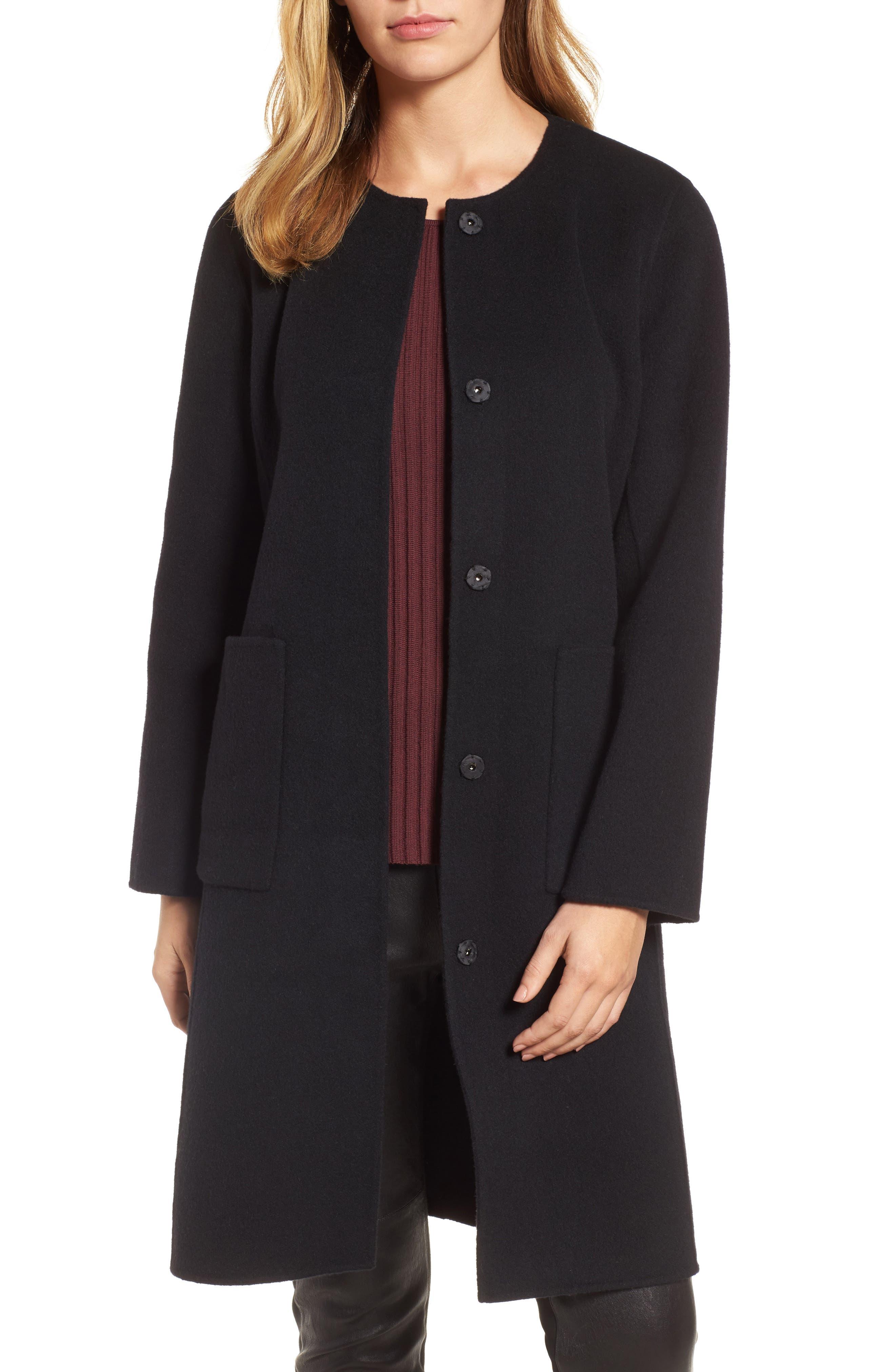 Boiled Wool Blend Wrap Coat,                             Alternate thumbnail 5, color,                             Black