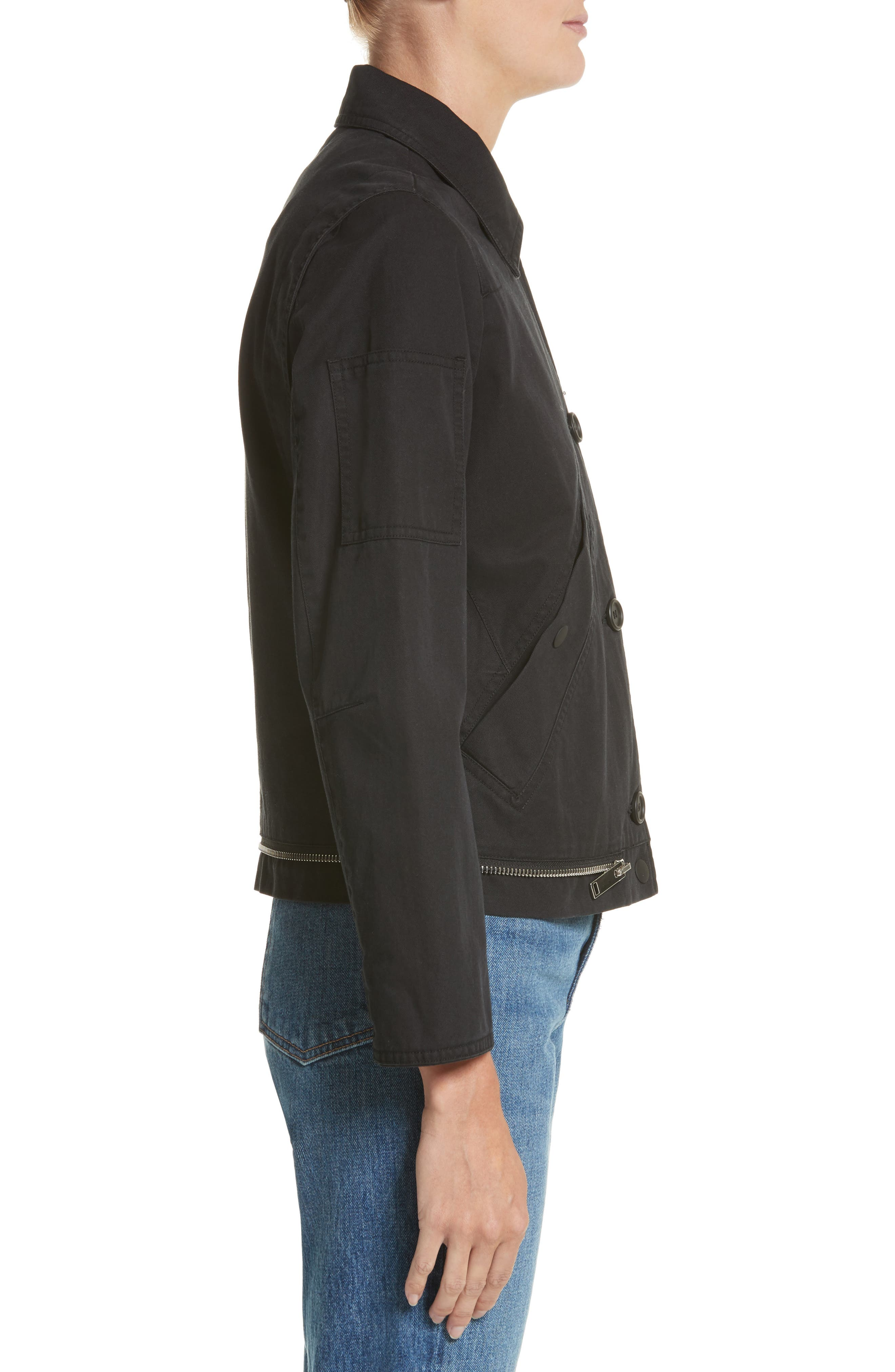 PSWL Washed Cotton Military Jacket,                             Alternate thumbnail 3, color,                             Black