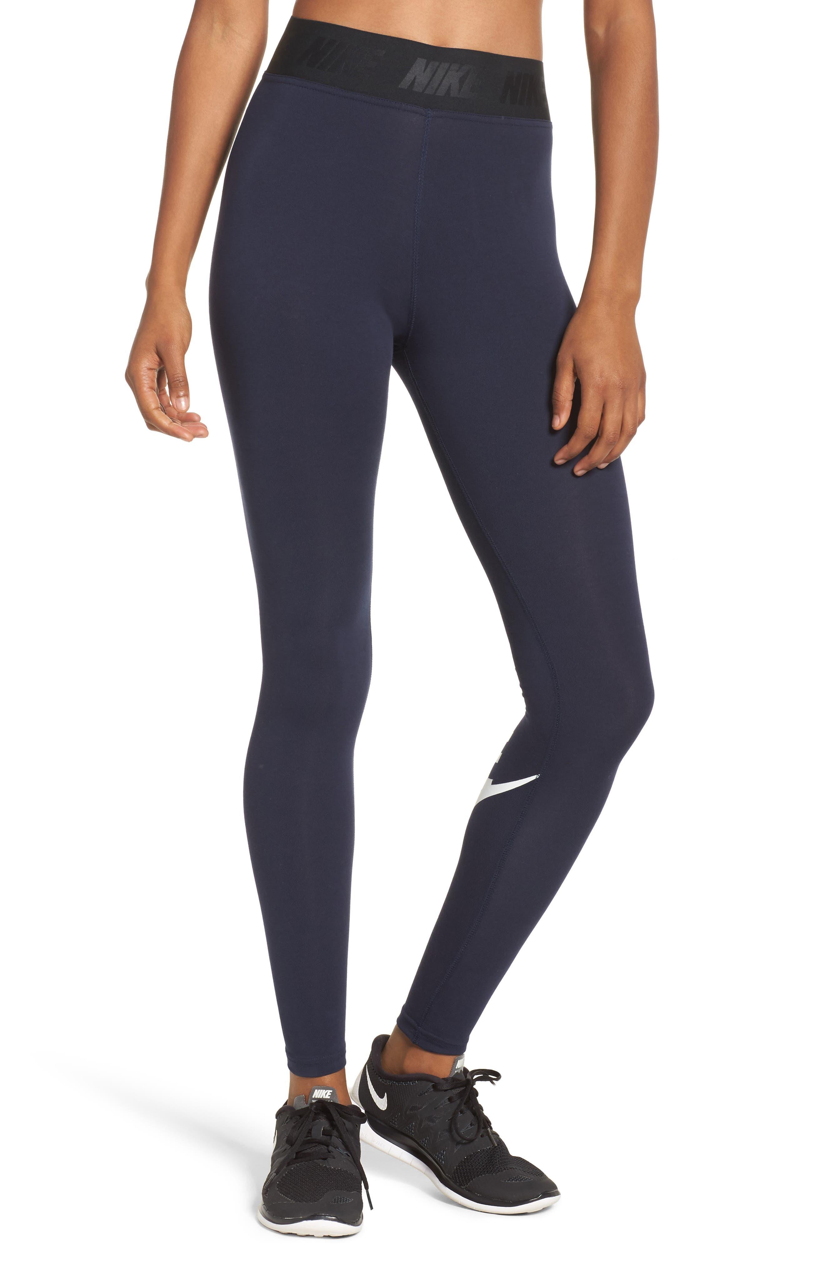 Leg-a-See High Waist Leggings,                         Main,                         color, Obsidian/ White