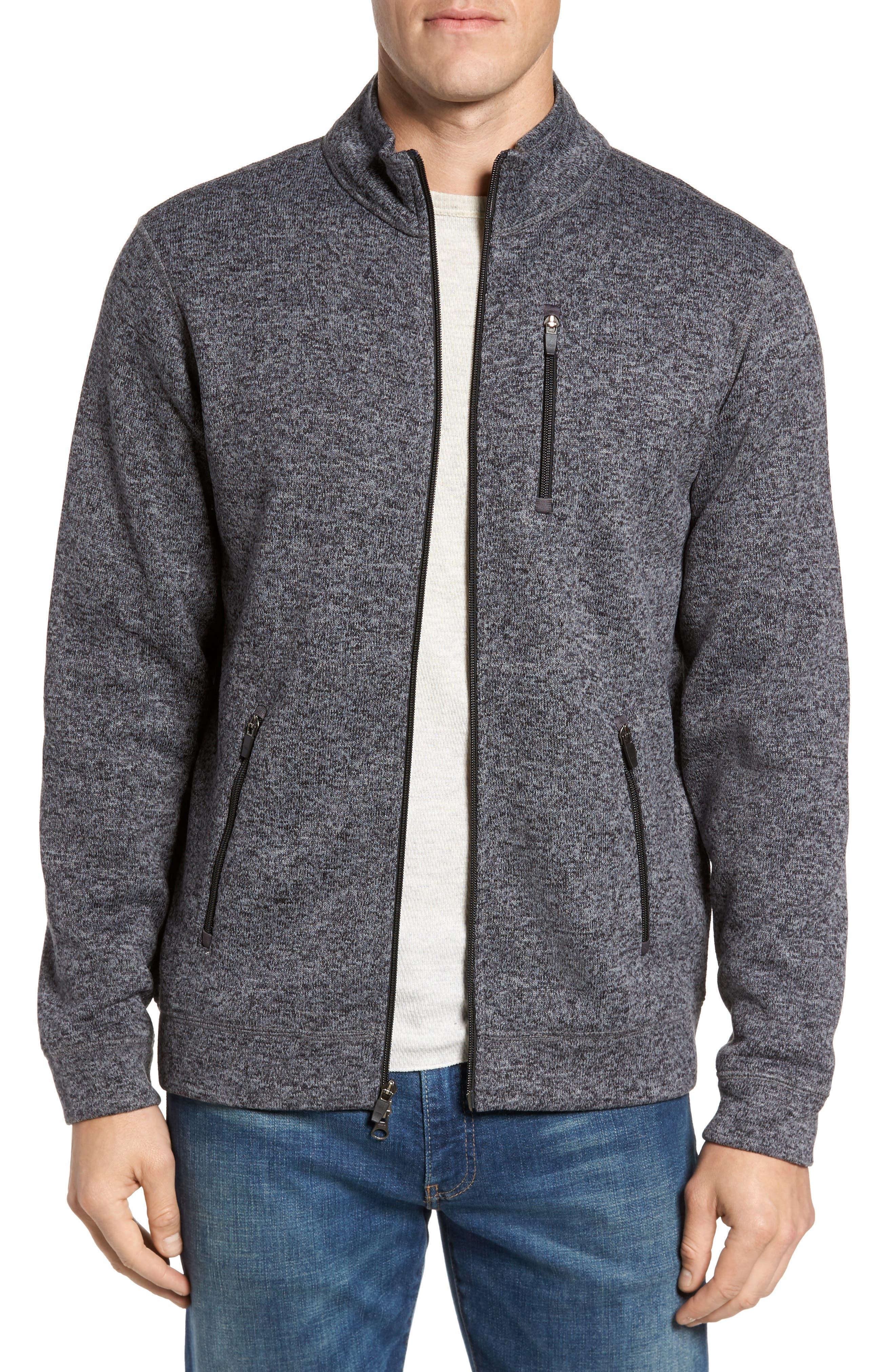 Sweater Knit Fleece Zip Front Jacket,                             Main thumbnail 1, color,                             Black/ Grey