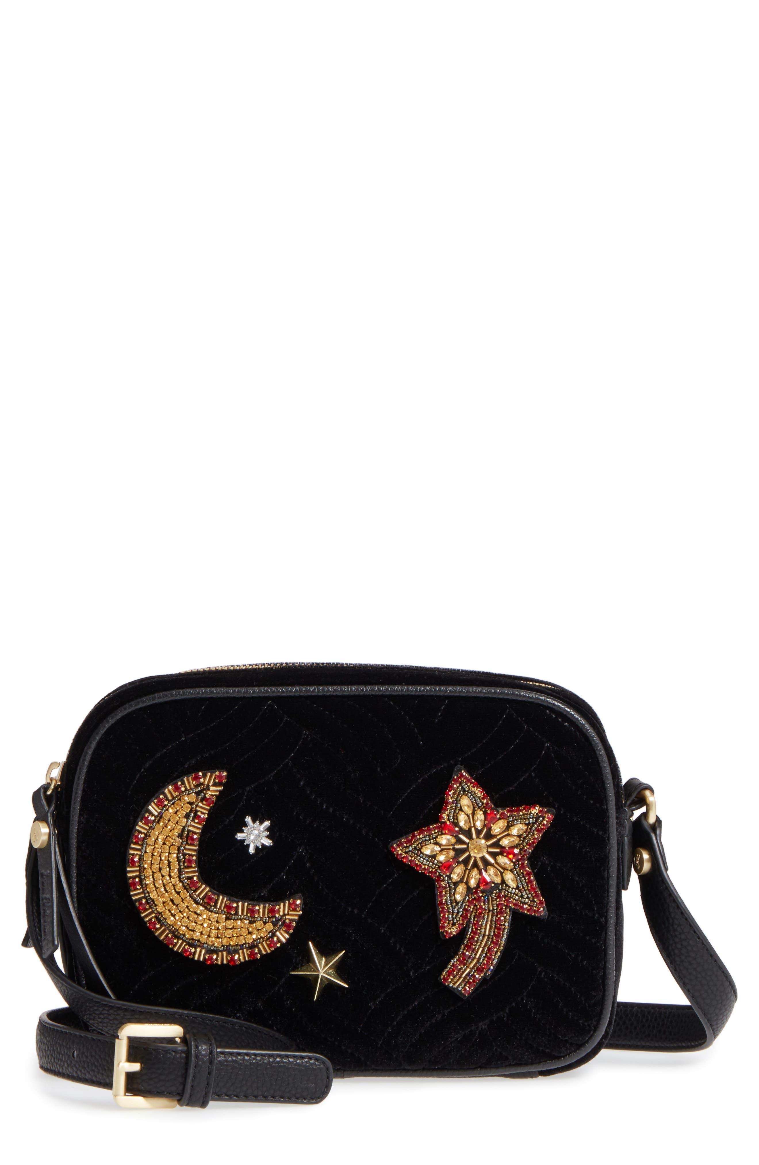 Perri Velvet Camera Crossbody Bag,                             Main thumbnail 1, color,                             Black Moon/ Star