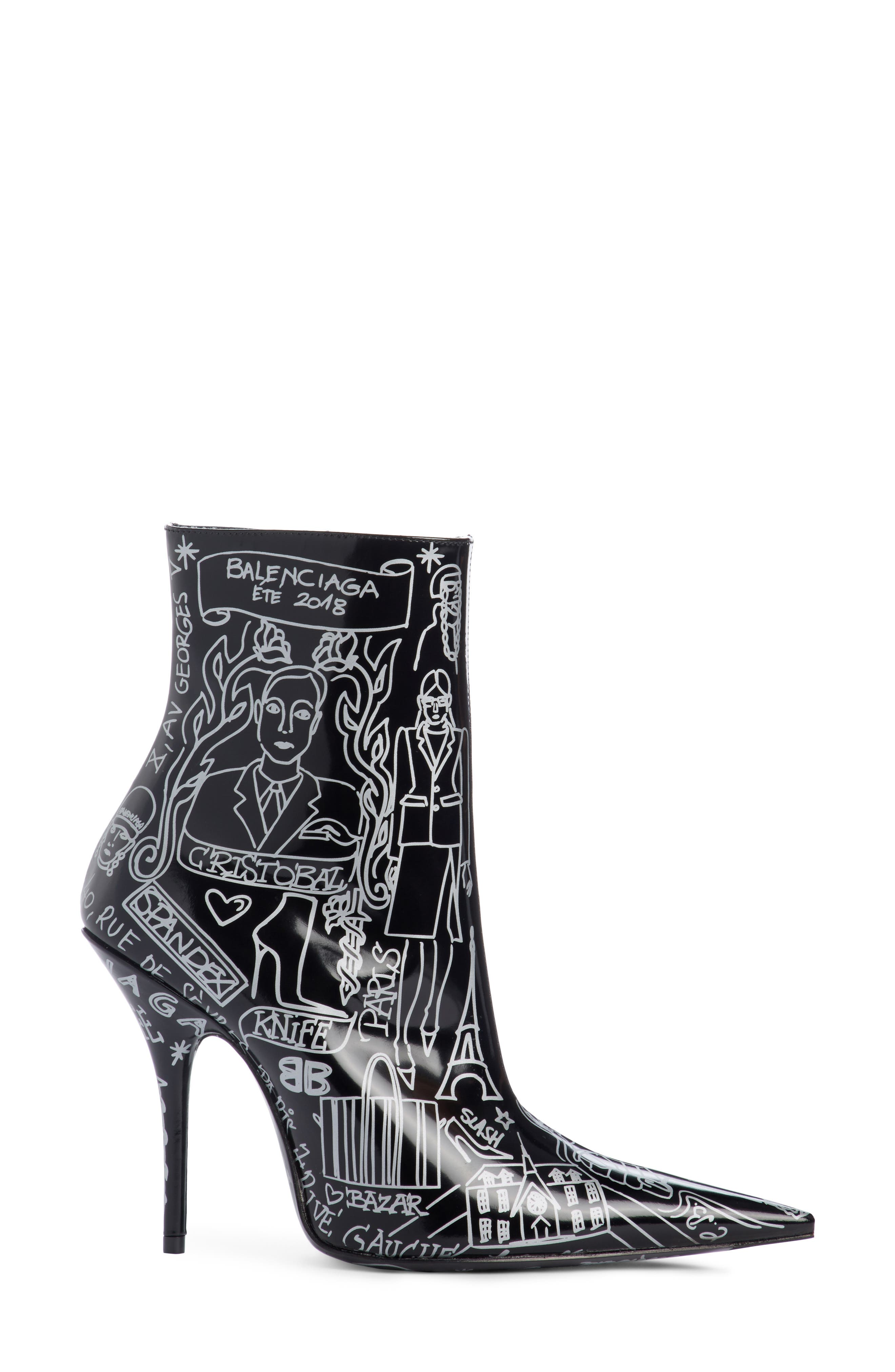 Print Pointy Toe Bootie,                             Alternate thumbnail 3, color,                             Black/ Silver