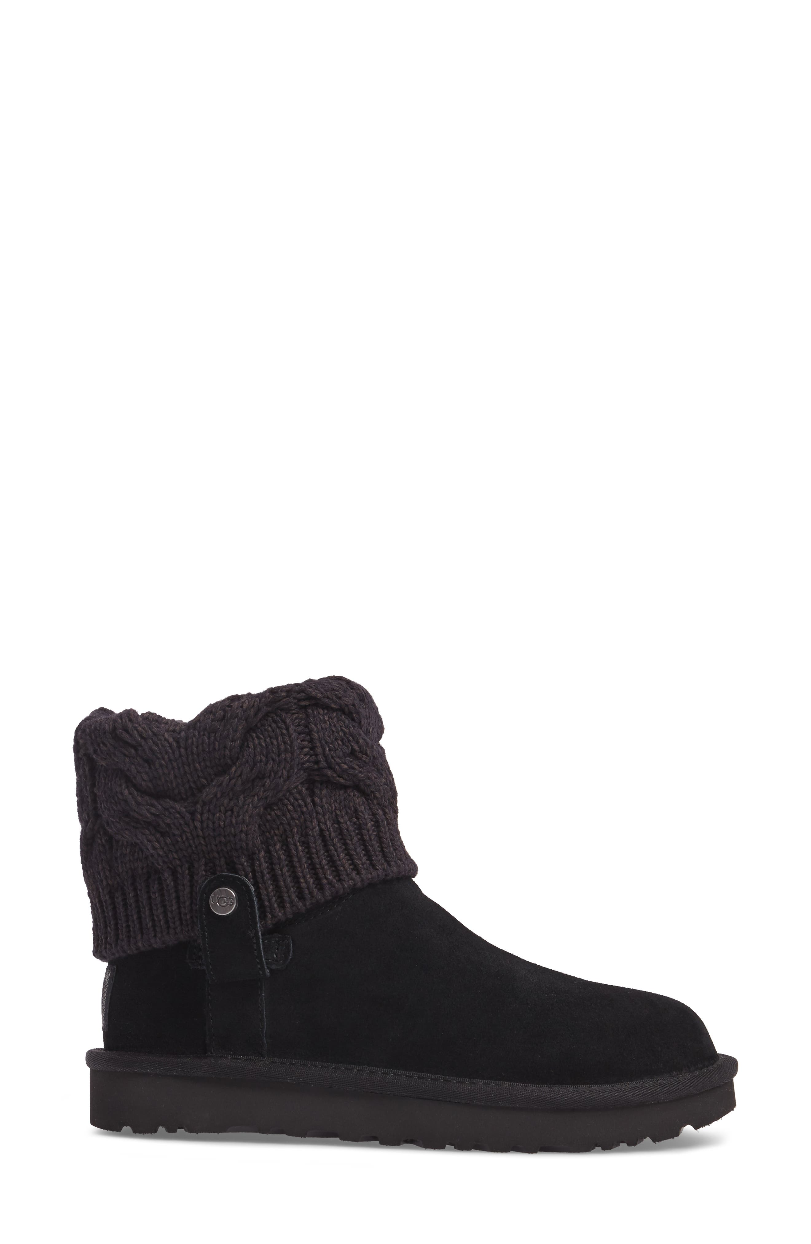 Saela Knit Cuff Boot,                             Alternate thumbnail 3, color,                             Black Suede