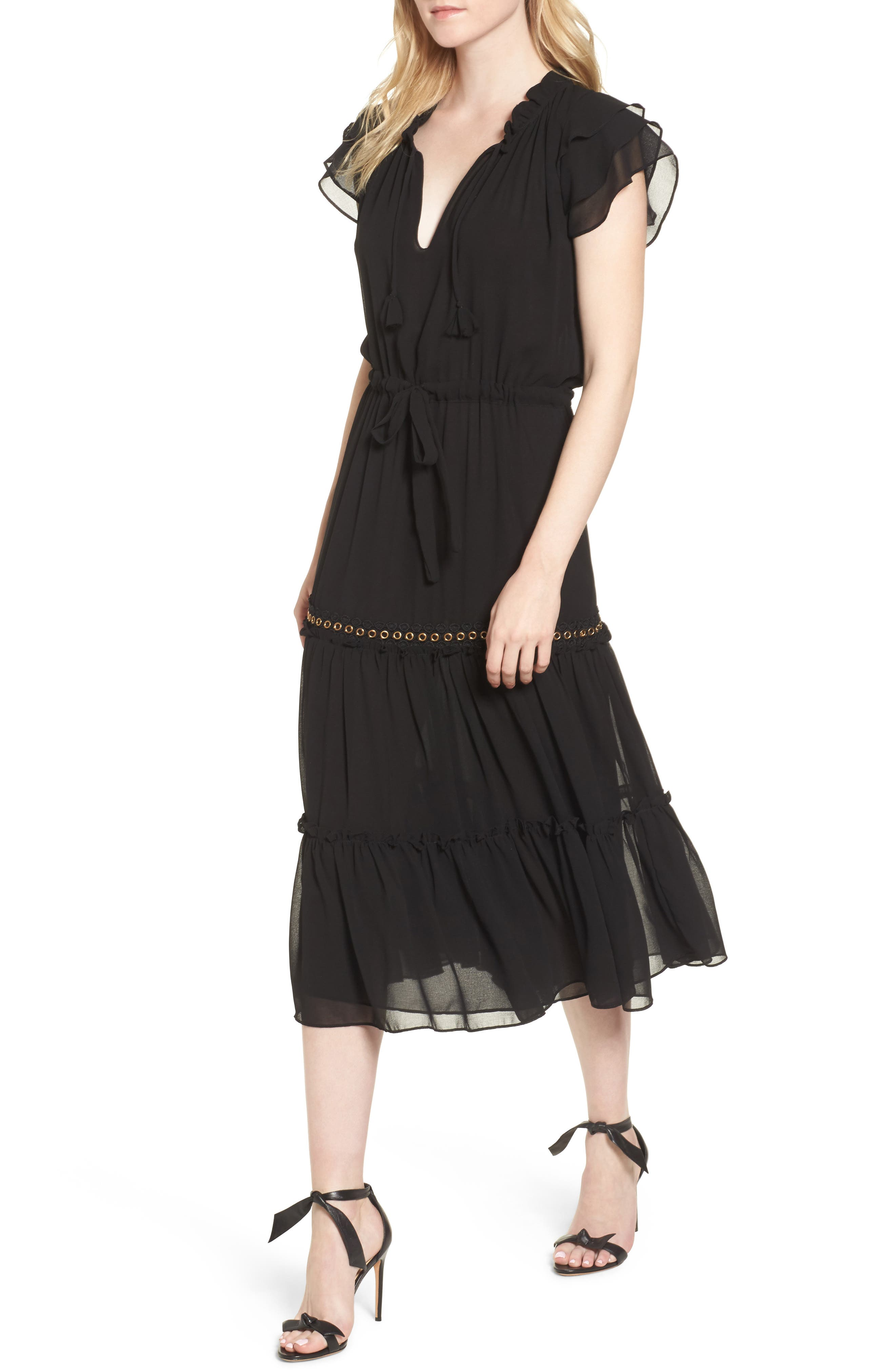 Anis Midi Dress,                         Main,                         color, Ink Black